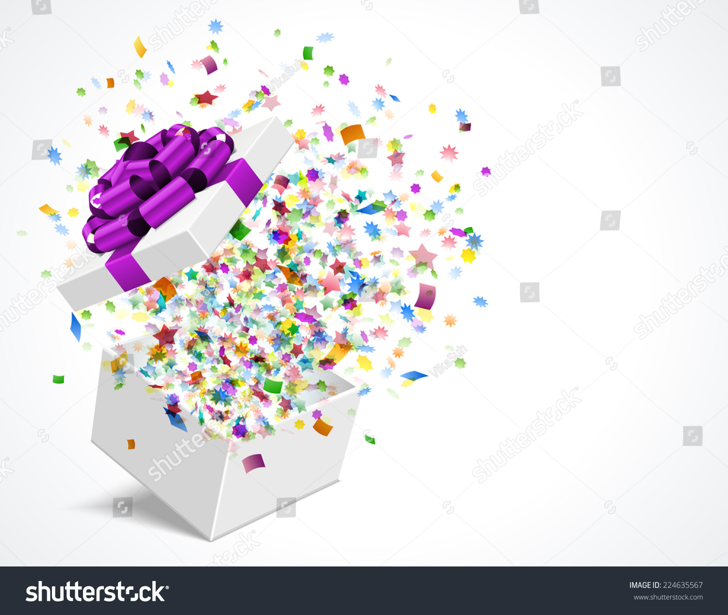 Gift Box Open And With Bow And Ribbon Vector Illustration