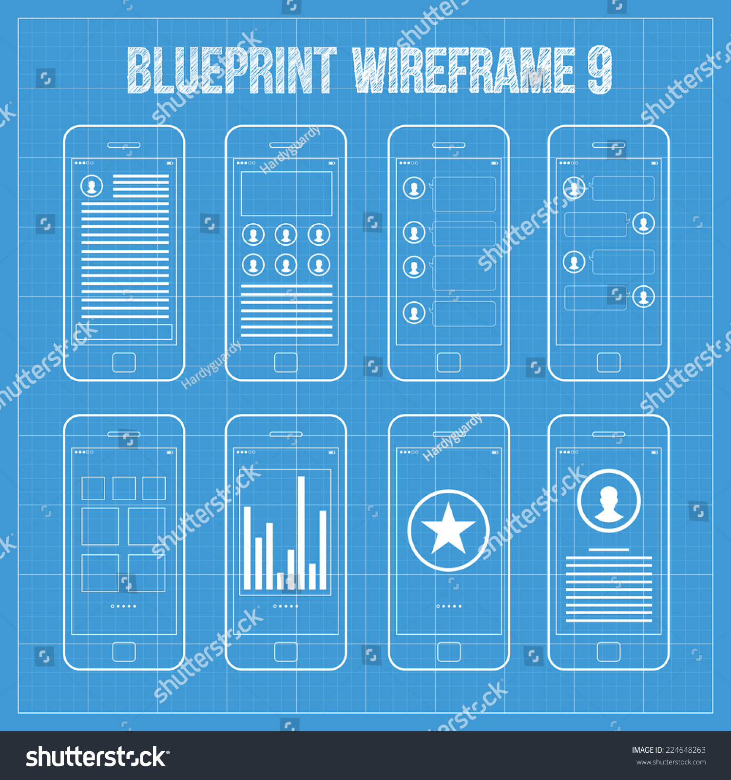 Royalty free wireframe mobile app ui kit 9 author 224648263 stock author post screen dashboard screen comment screen chat screen gallery slideshow screen statistics screen achievements screen about screen malvernweather Image collections