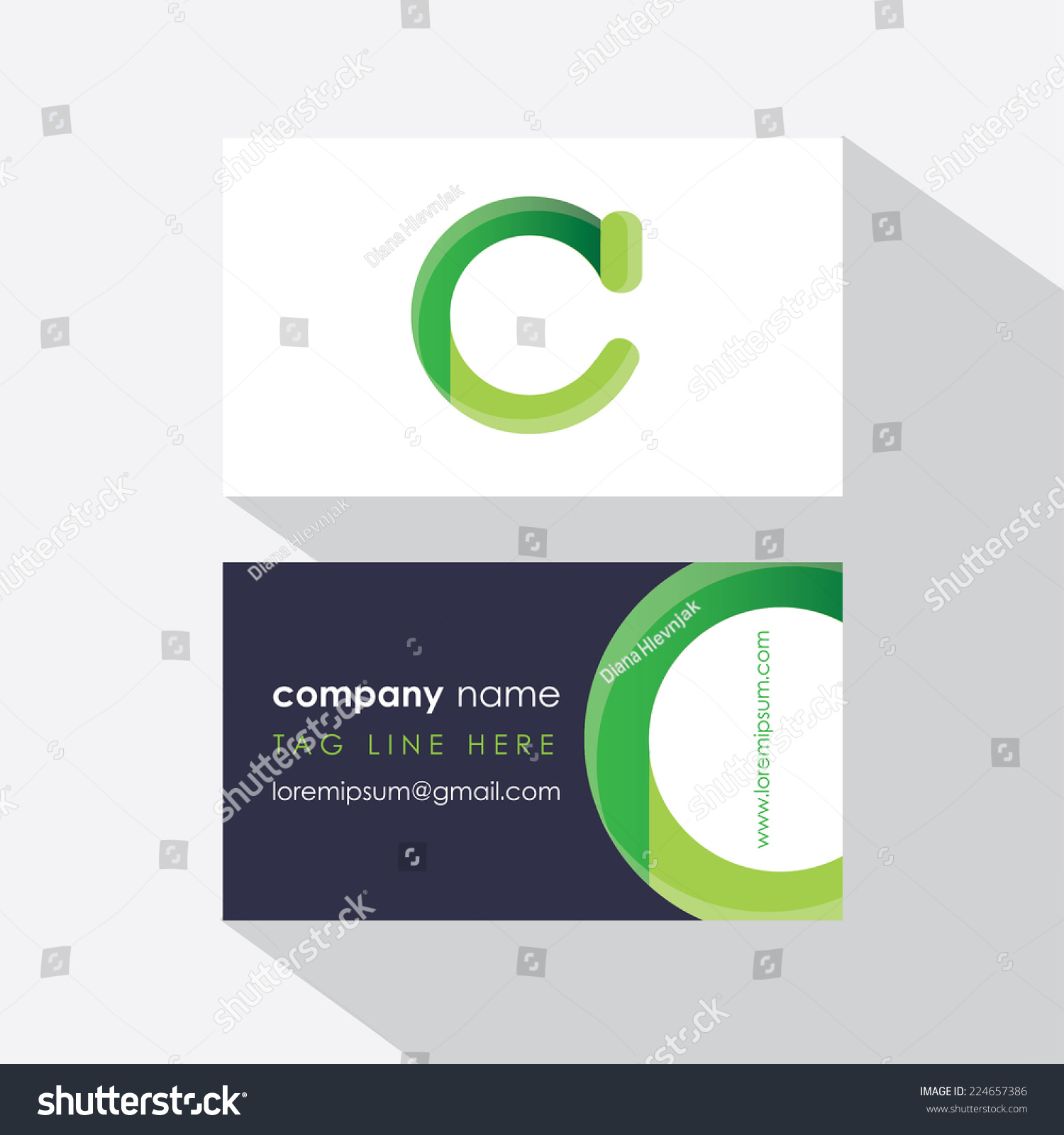 ecology business card template front back stock vector
