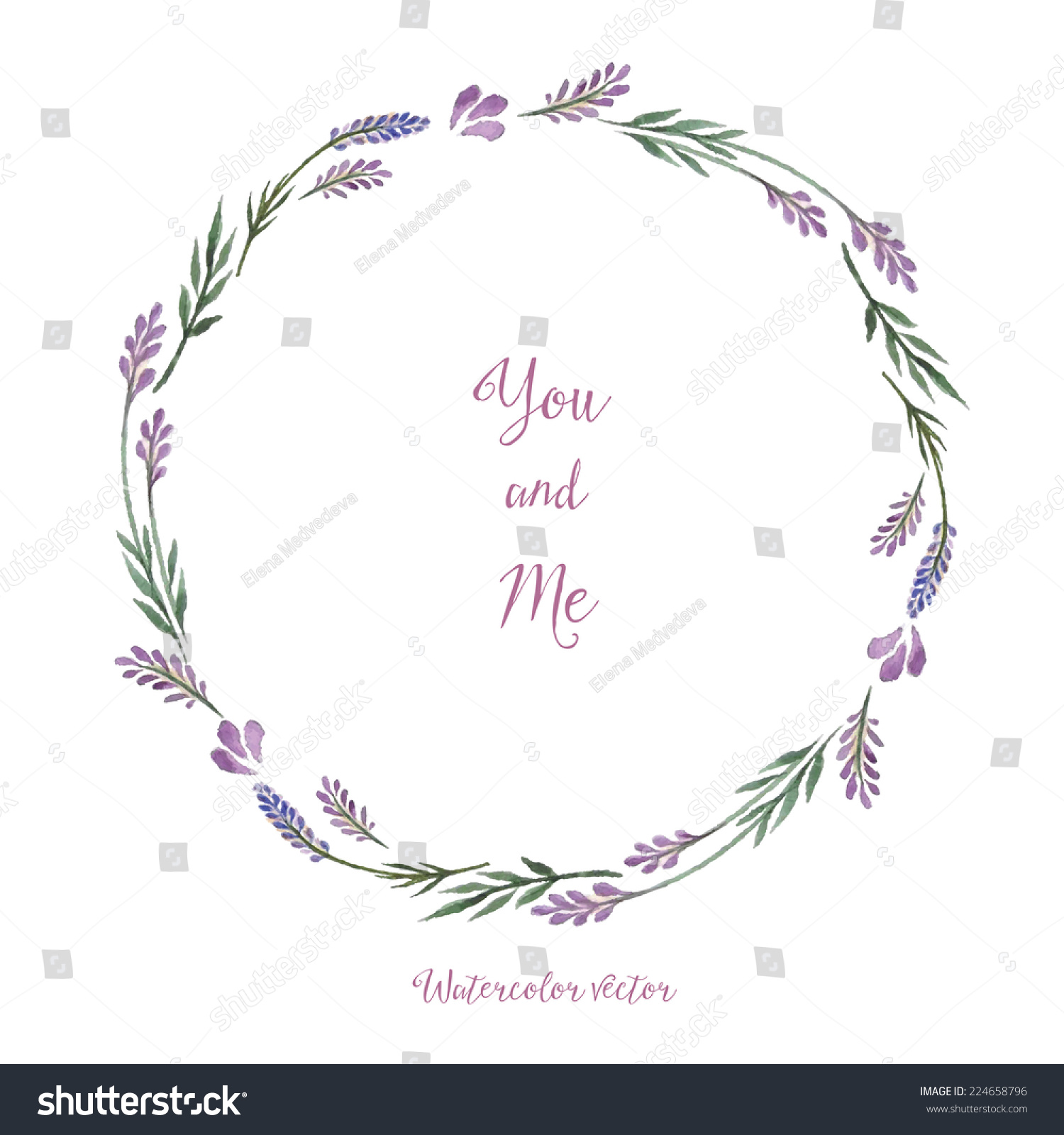 Round frame with decorative branch vector illustration stock - Watercolor Decorative Elements Round Frame Of Lavender Vector Illustration Place For Your