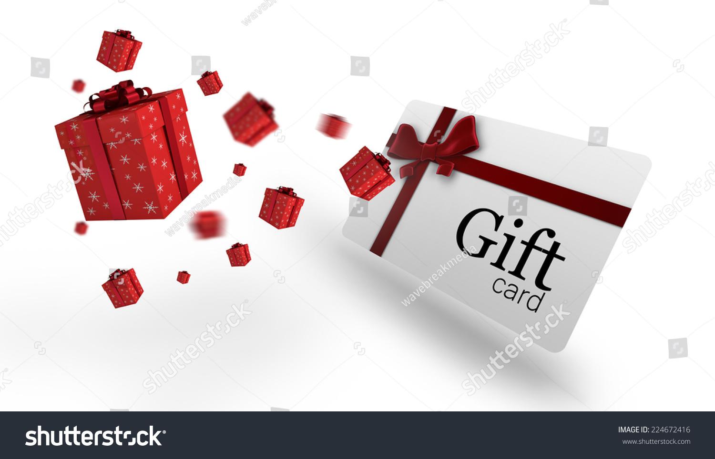 Flying Christmas Presents Against Gift Card Stock Illustration ...