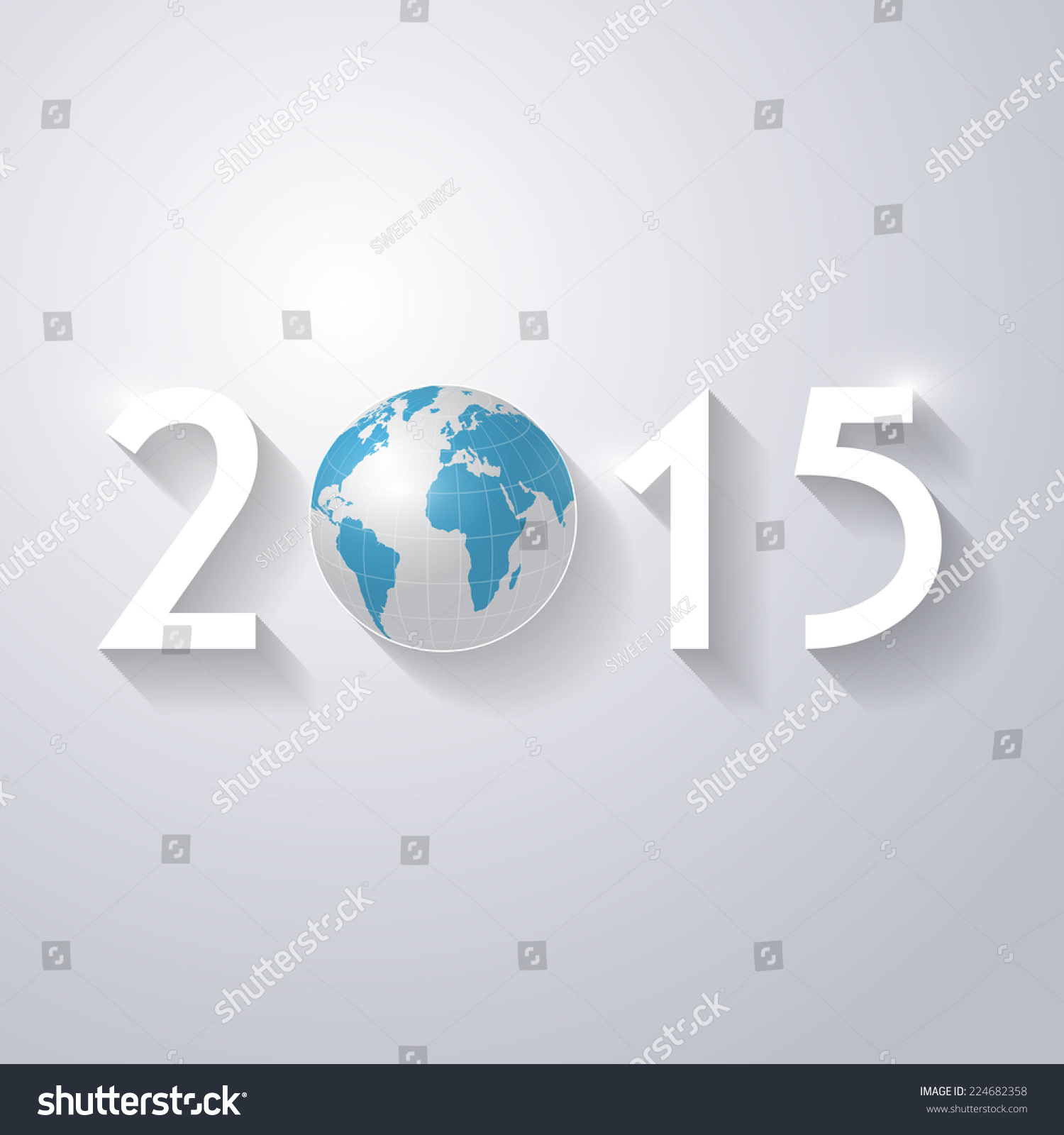 Vector modern simple happy new year stock vector 224682358 vector modern simple happy new year 2015 and 3d world map wallpaper with a long shadow gumiabroncs Gallery