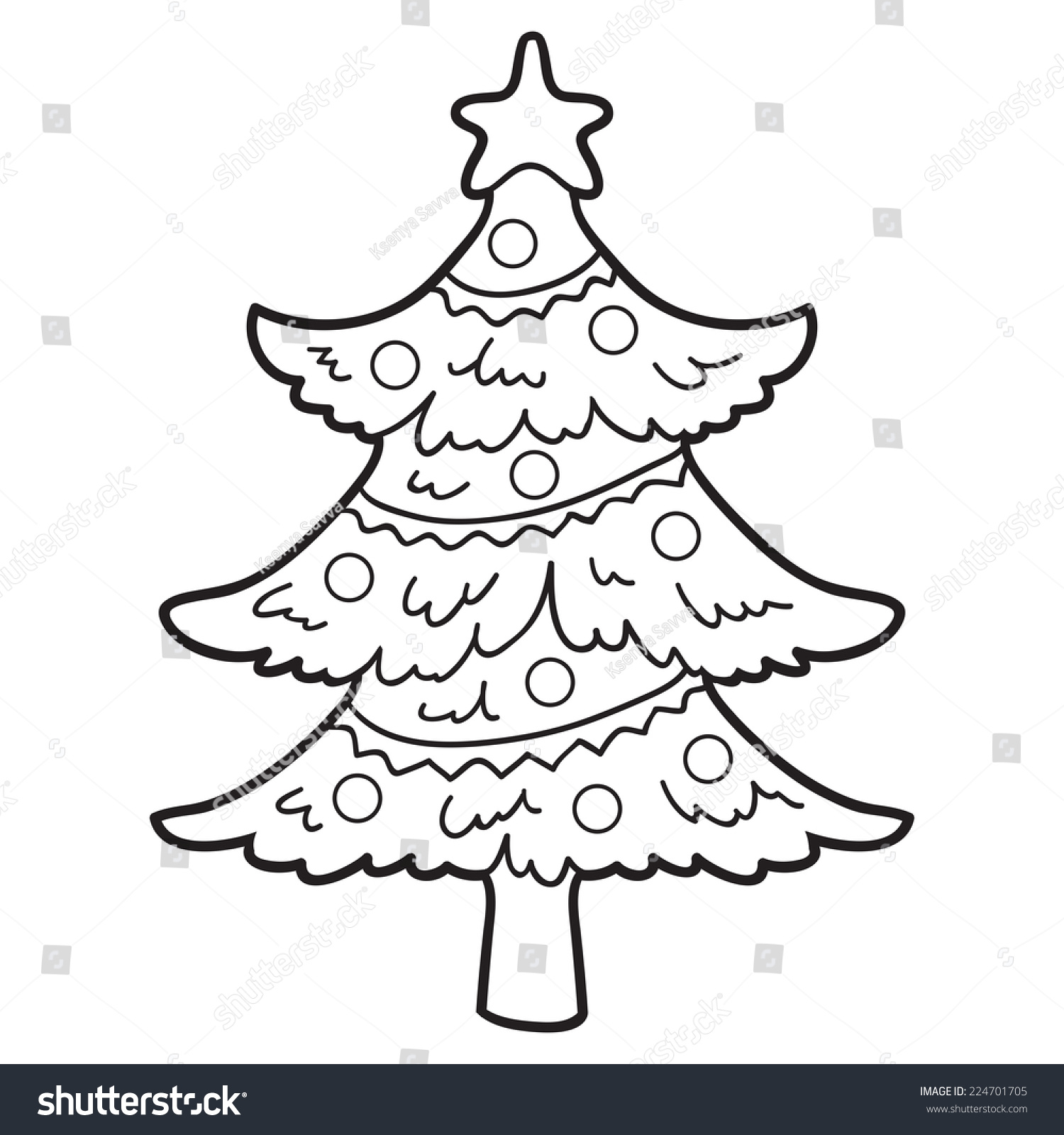 Coloring Book Christmas Tree Stock Vector 224701705 - Shutterstock