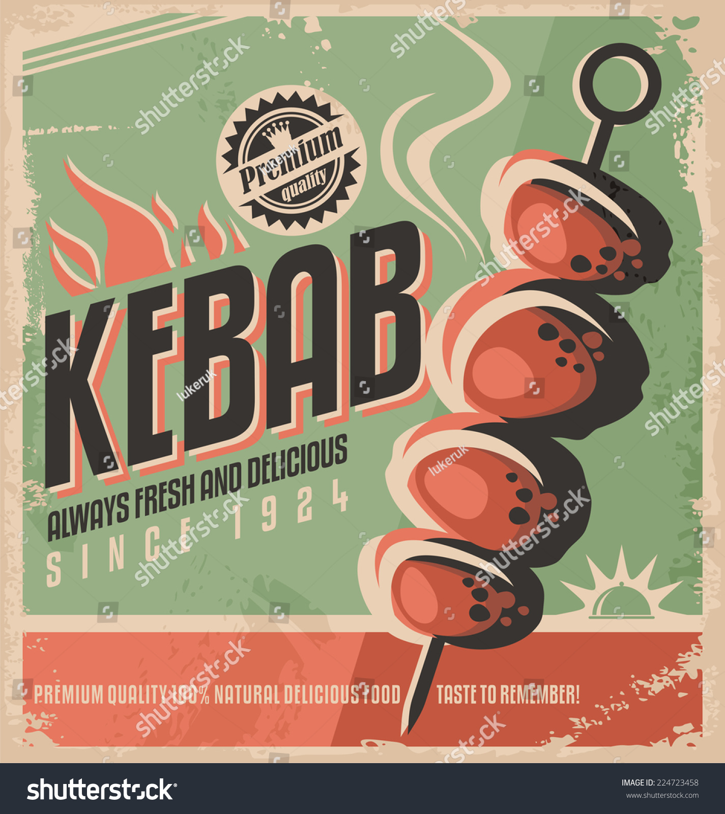 Kebab retro poster design concept promotional stock vector for Ad designs