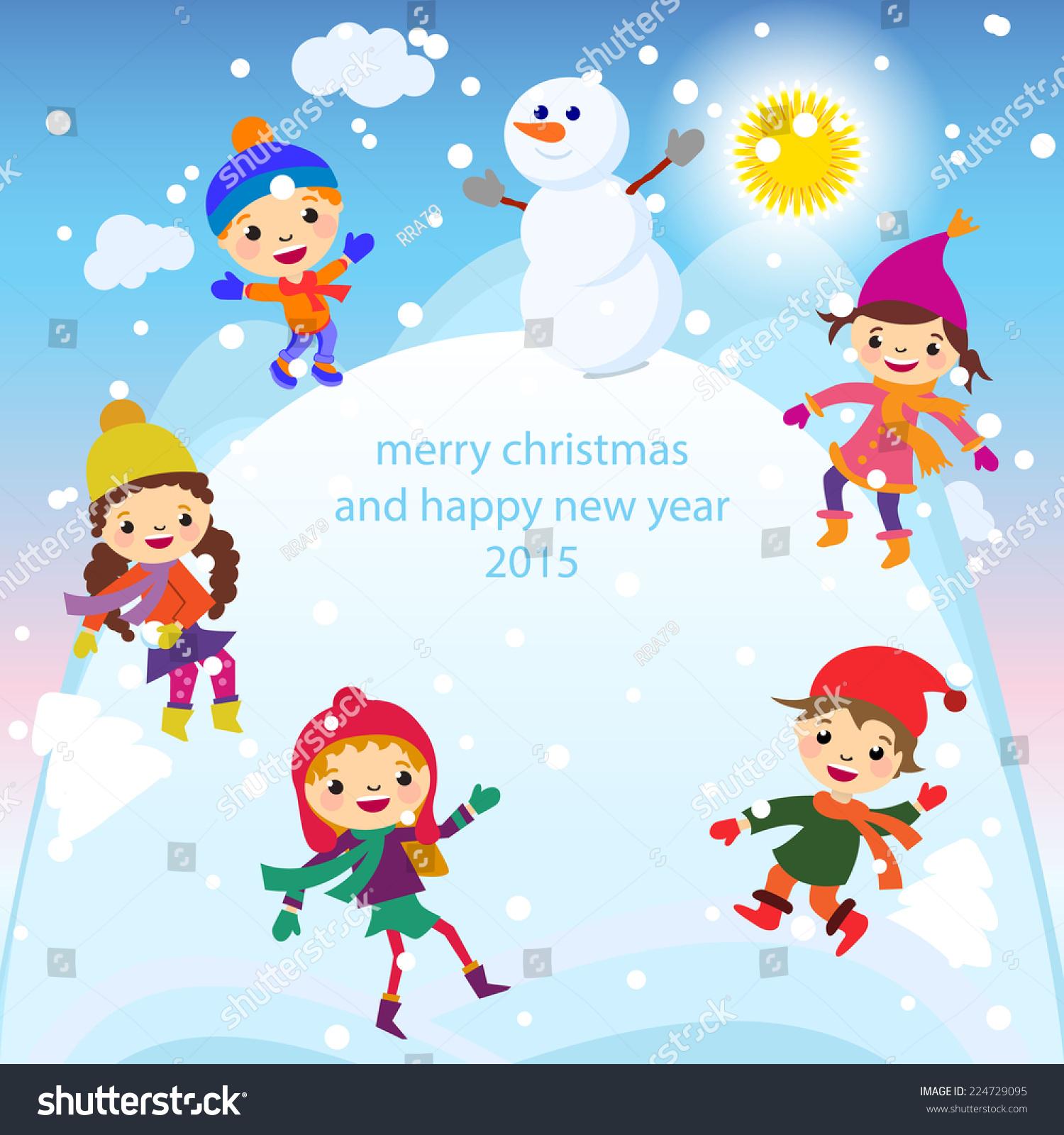 Christmas Greeting Card Kids Snow Snowman Stock Vector 224729095
