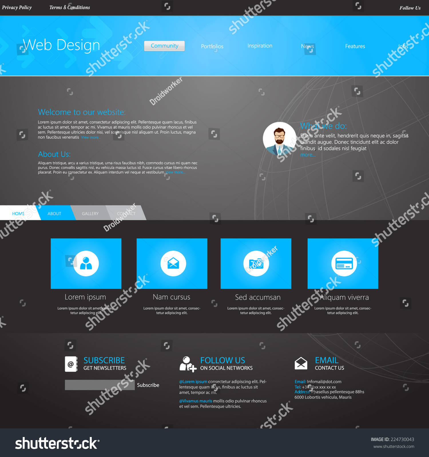 Blue business website template home page stock vector 2018 blue business website template home page design clean and simple with a space accmission Image collections