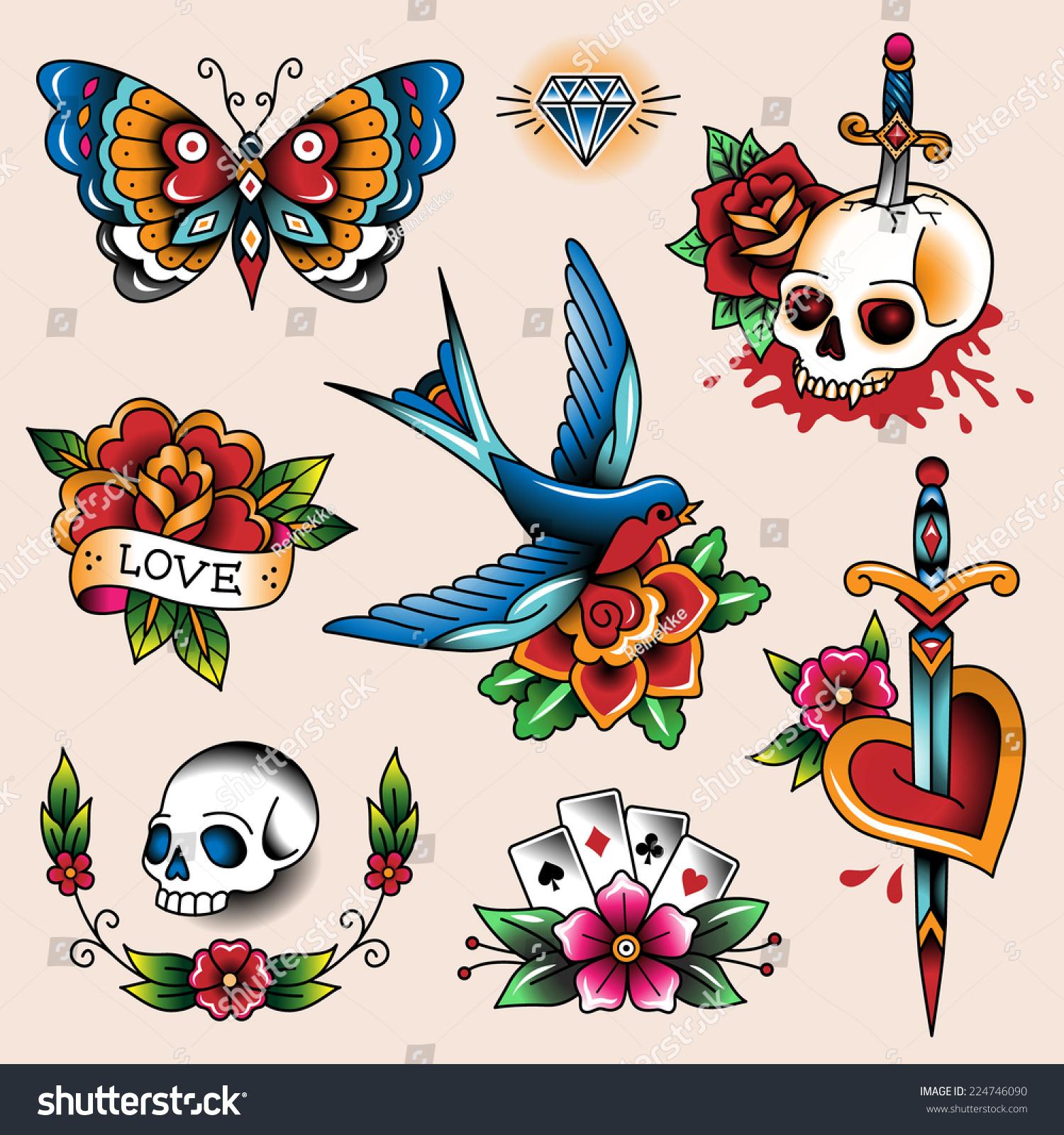 Tattoo Ideas Vintage: Set Color Vintage Tattoos Your Design Stock Vector