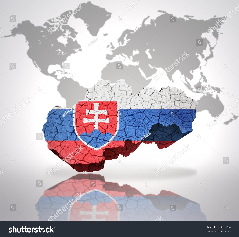 Picture of: Map Slovakia Slovak Flag On World Stock Illustration 224756056