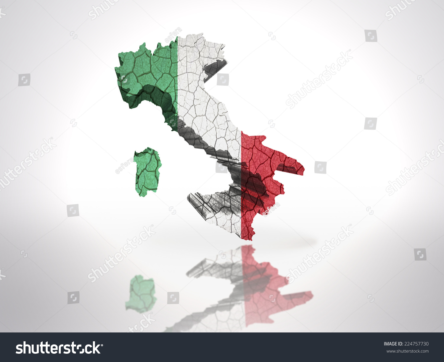 Map Of Italy In Italian.Map Italy Italian Flag On White Stock Illustration 224757730