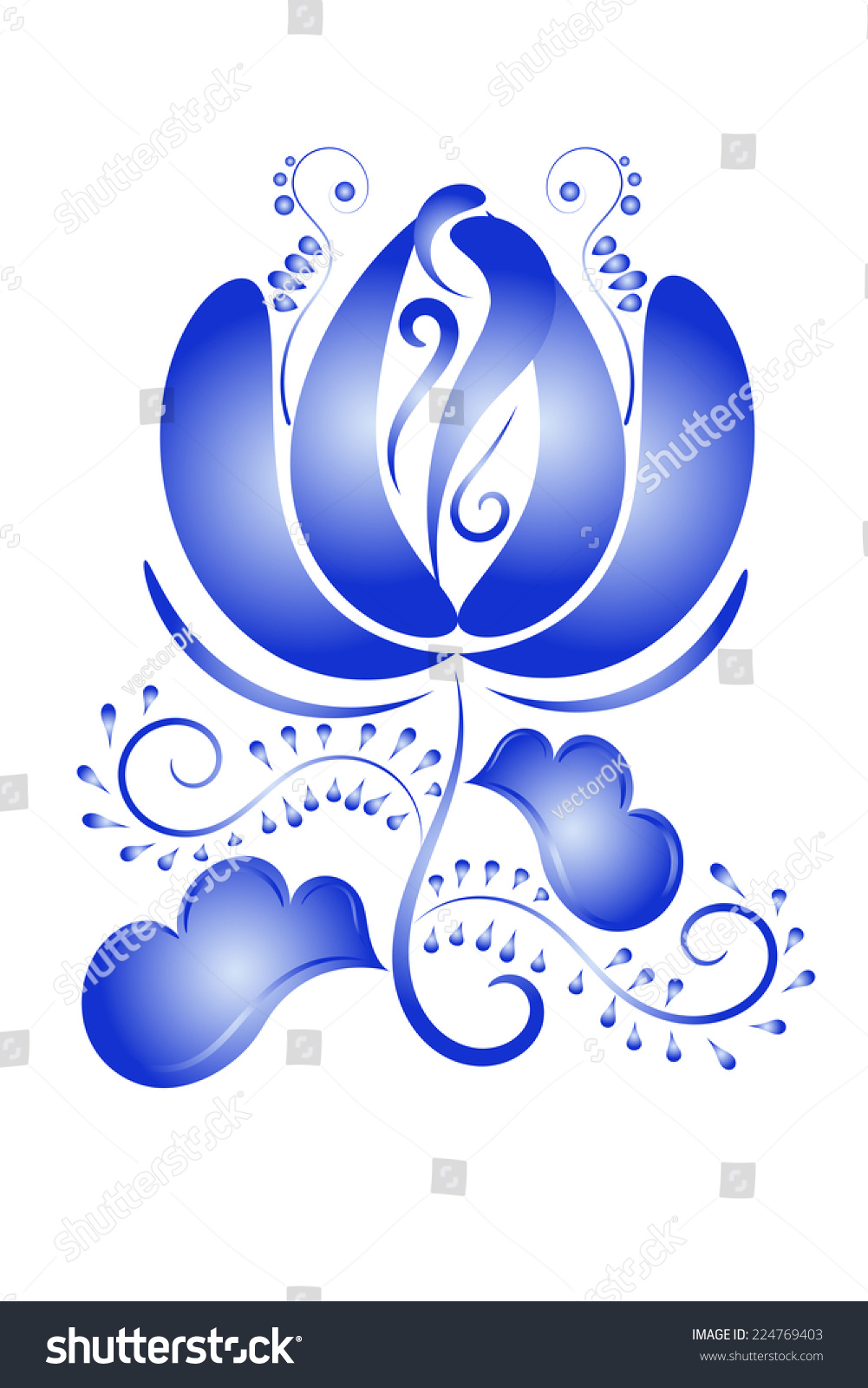 Artistic floral element abstract gzhel folk art blue flowers stock - Design Element Blue Flower In Gzhel Style Isolated On White Background Vector Illustration
