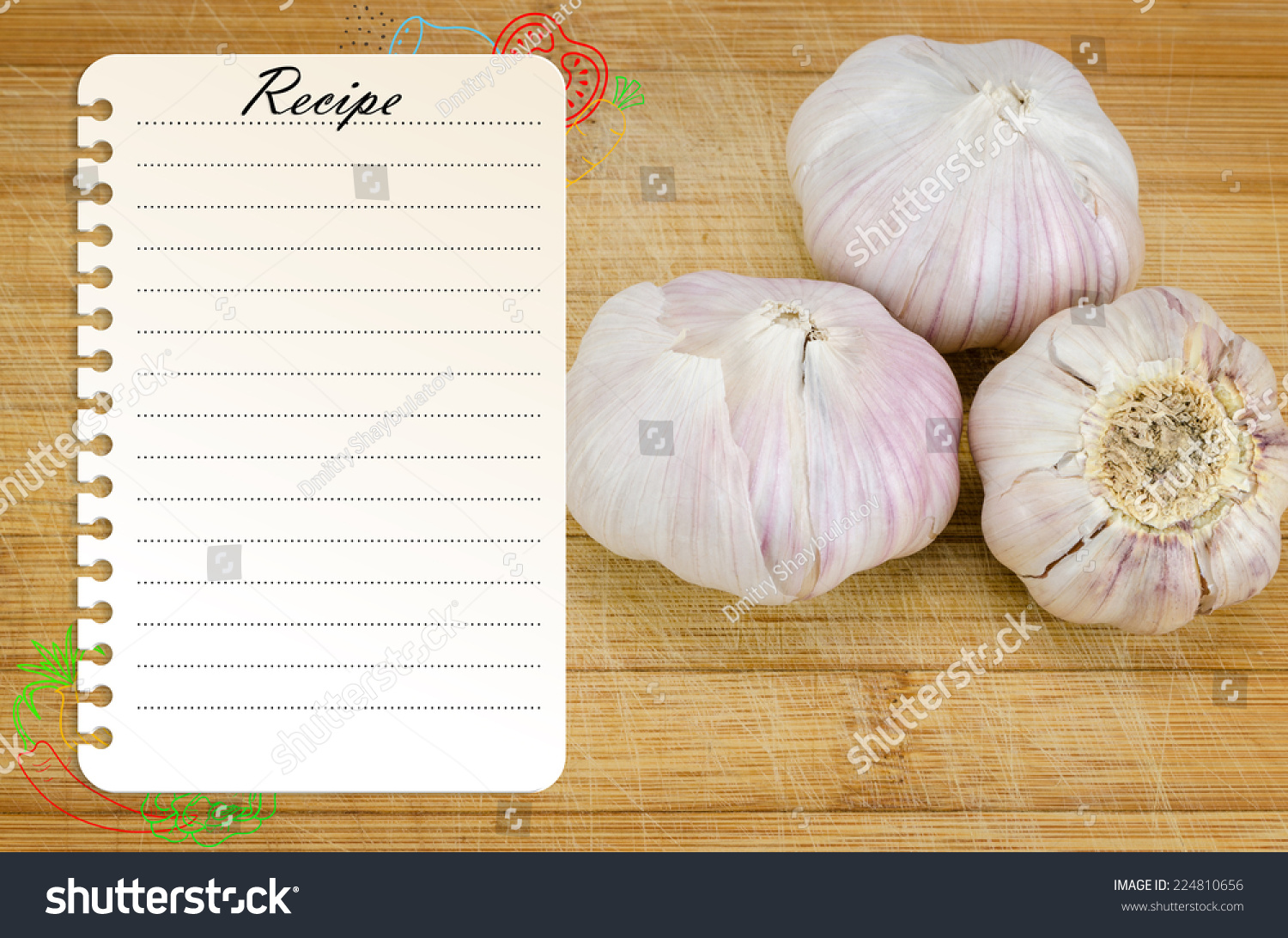 Recipe Page Template Design On Wooden Stock Photo Royalty Free