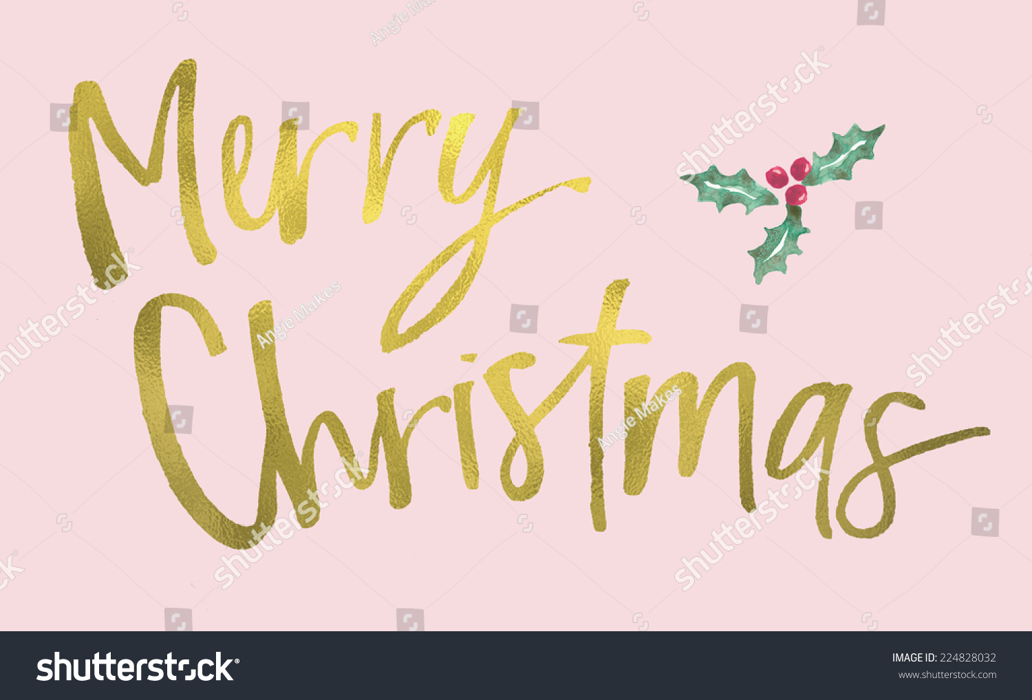 Modern Calligraphy Merry Christmas Card Gold Stock