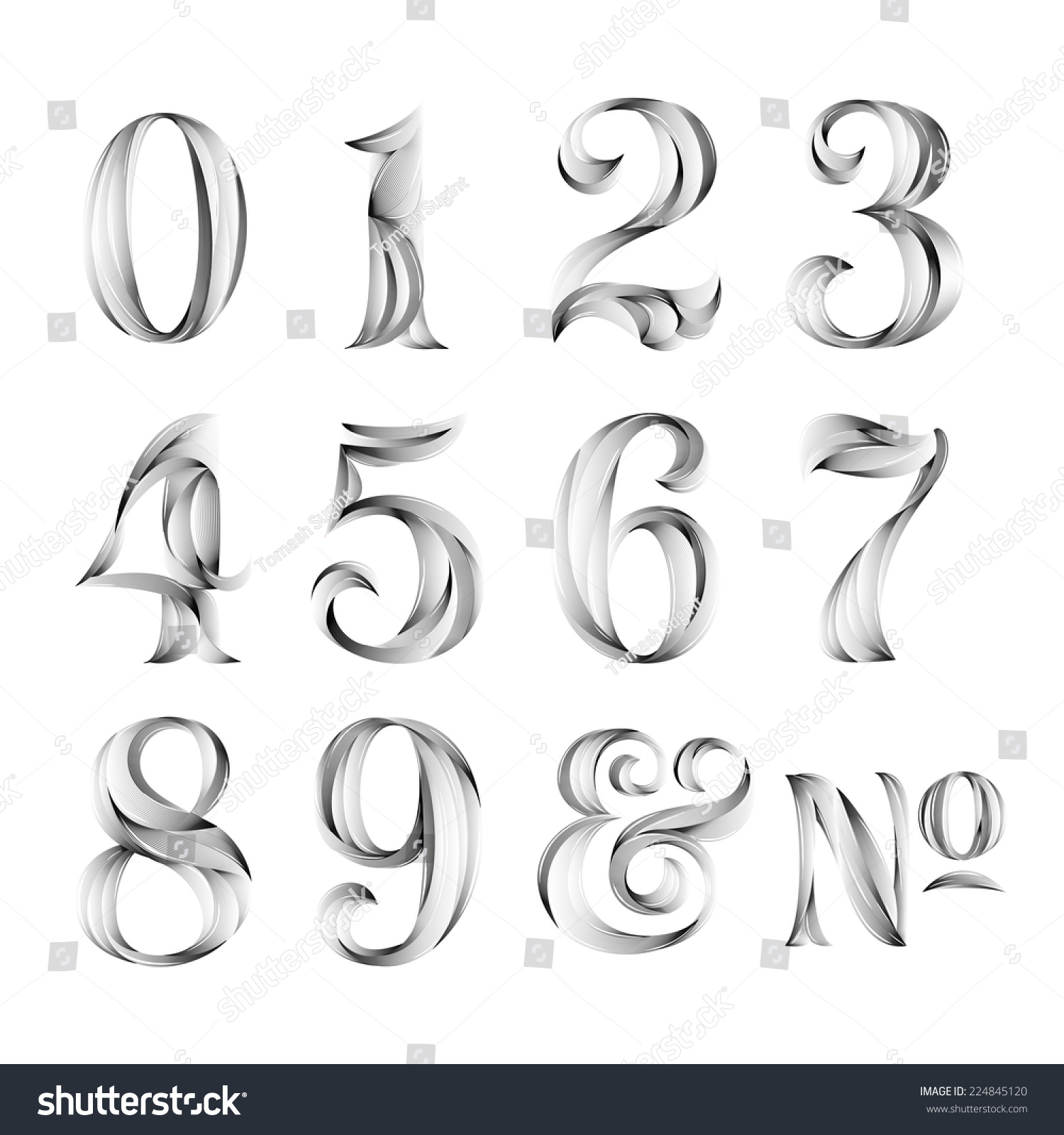 Vintage Retro Style Typography Calligraphy Numbers Stock