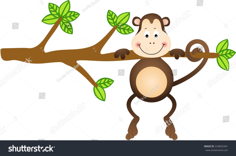 monkey hanging tree stock vector 224852941 shutterstock