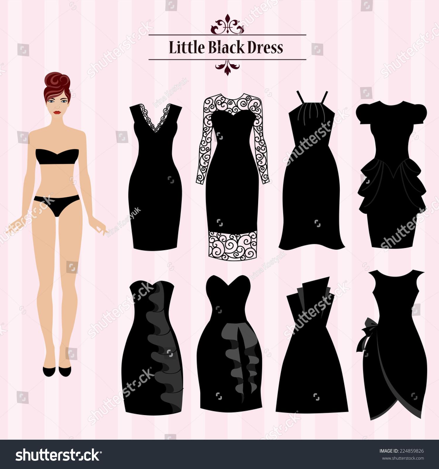 Black Dress Set Clothes Elegant Style Stock Vector
