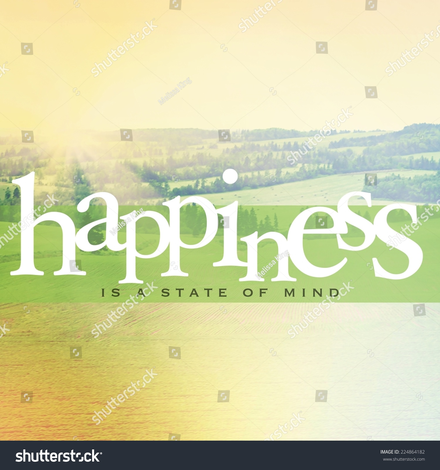 Inspirational Typographic Quote Happiness State Mind Stock Photo