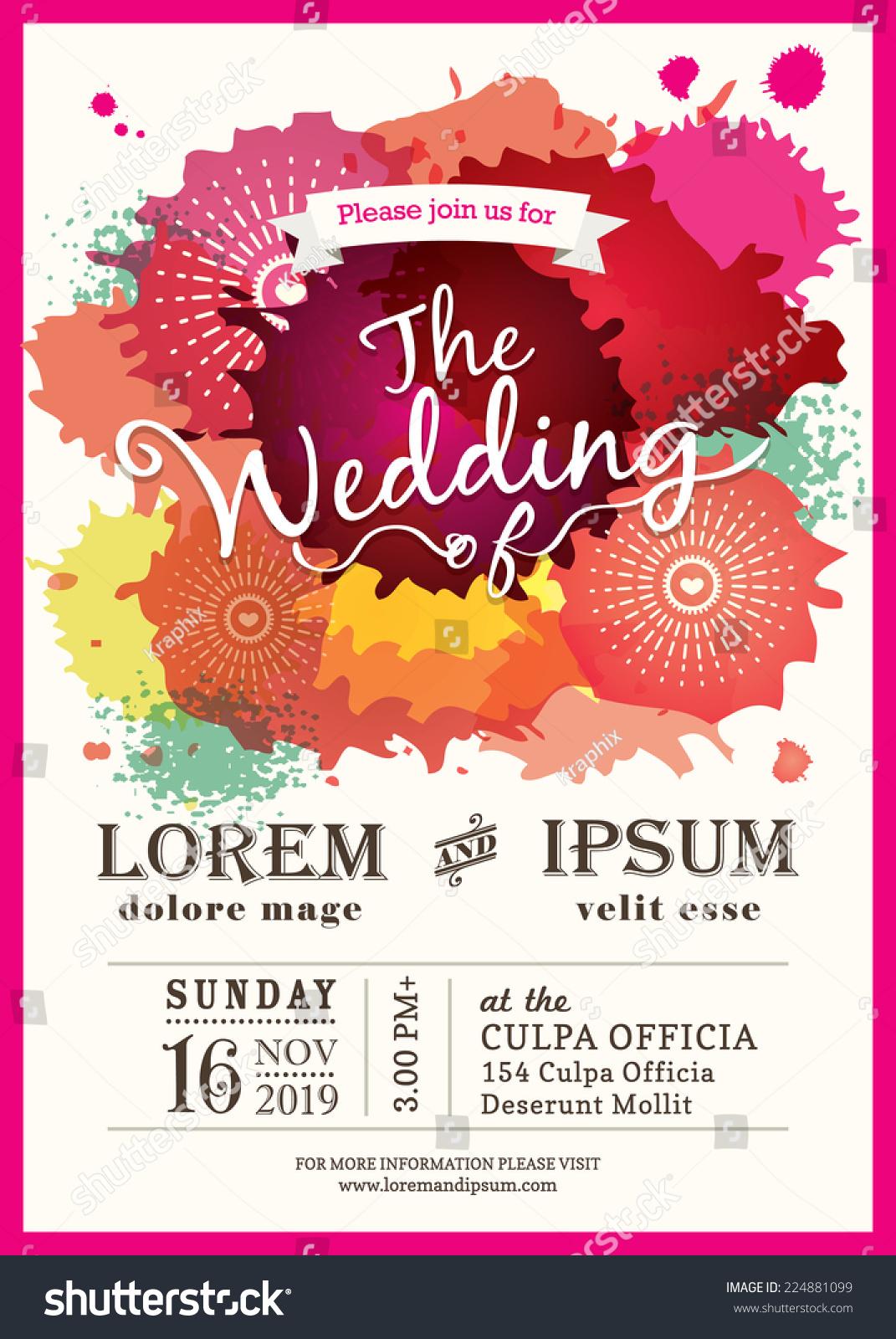 Color Splash Wedding Party Invitation Card Stock Vector (Royalty ...