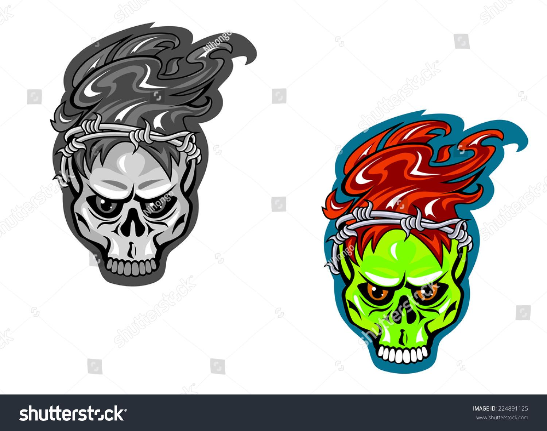 Skull Barbed Wire Tattoo Design Vector Stock Vector 224891125 ...