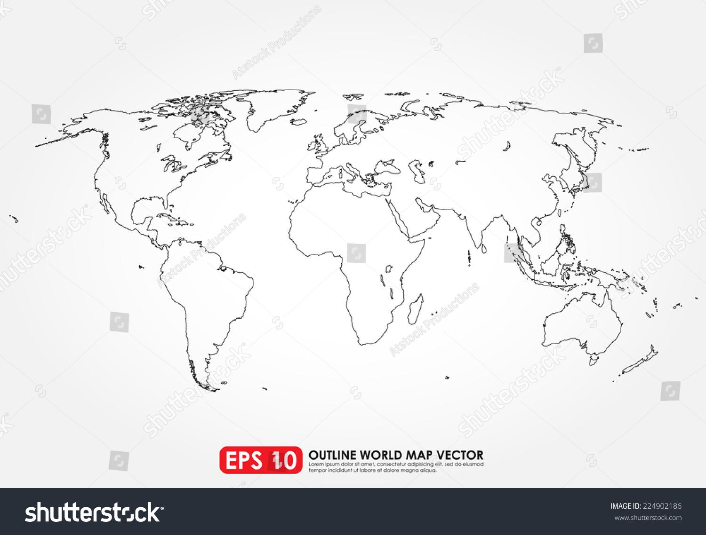 Flat world map outline stock vector 224902186 shutterstock flat world map outline gumiabroncs Gallery