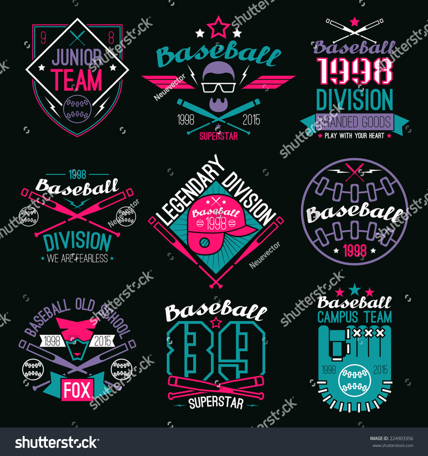 College Baseball Team Emblems Graphic Design Stock Vector