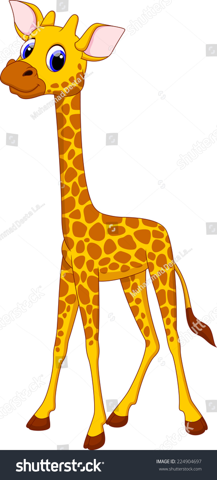 Cute Giraffe Cartoon Stock Vector Illustration 224904697 ...