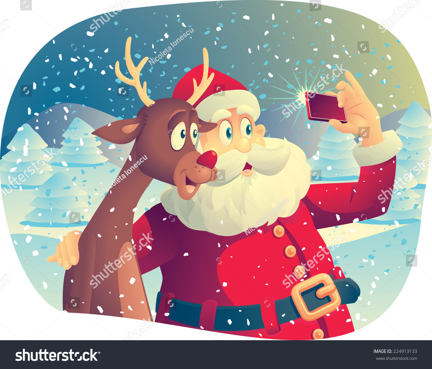 santa claus reindeer taking photo together stock vector 224913133