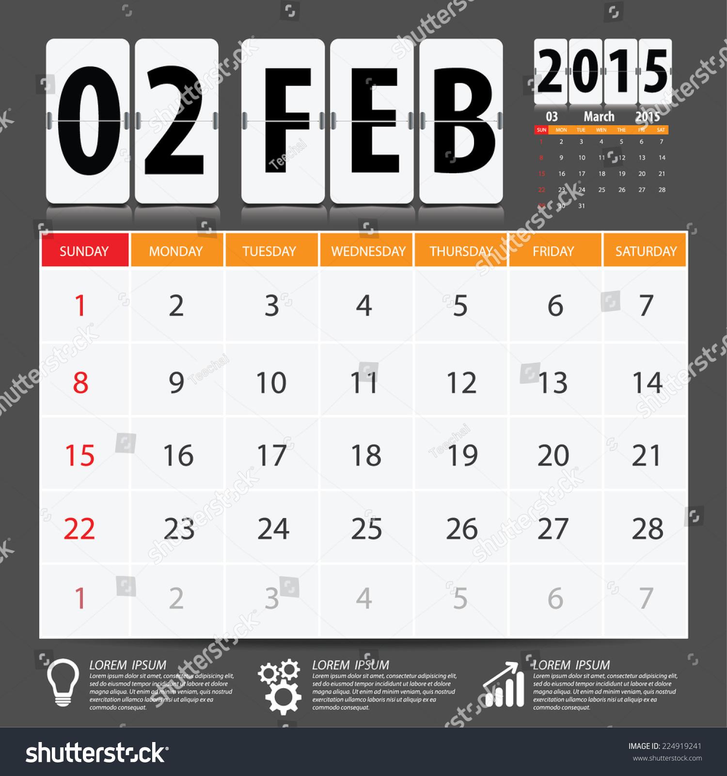 Calendar Typography Vector : Calendar vector design february stock