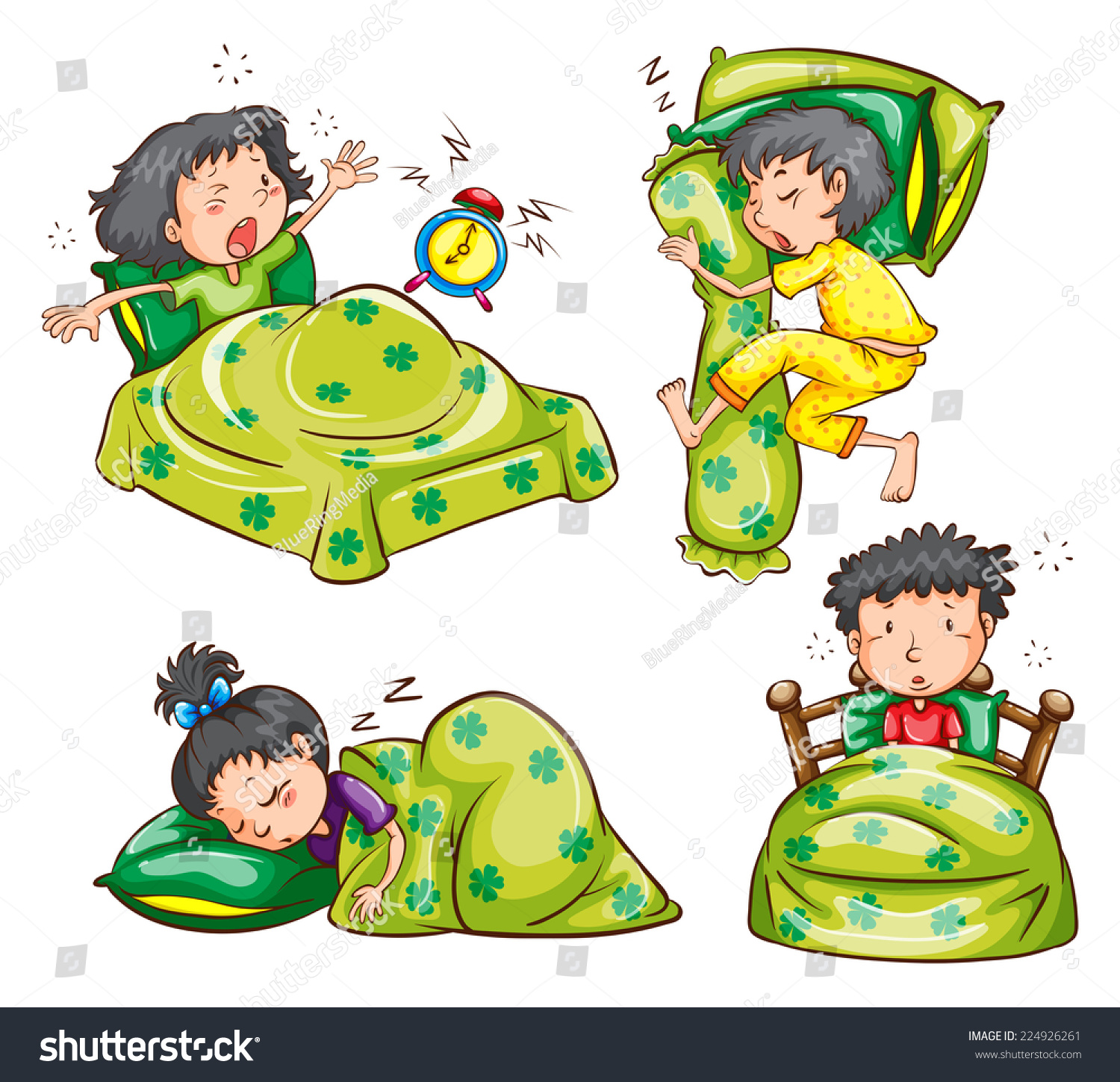 Illustration of boys and girls in bed 224926261 for Boys and girls in bed