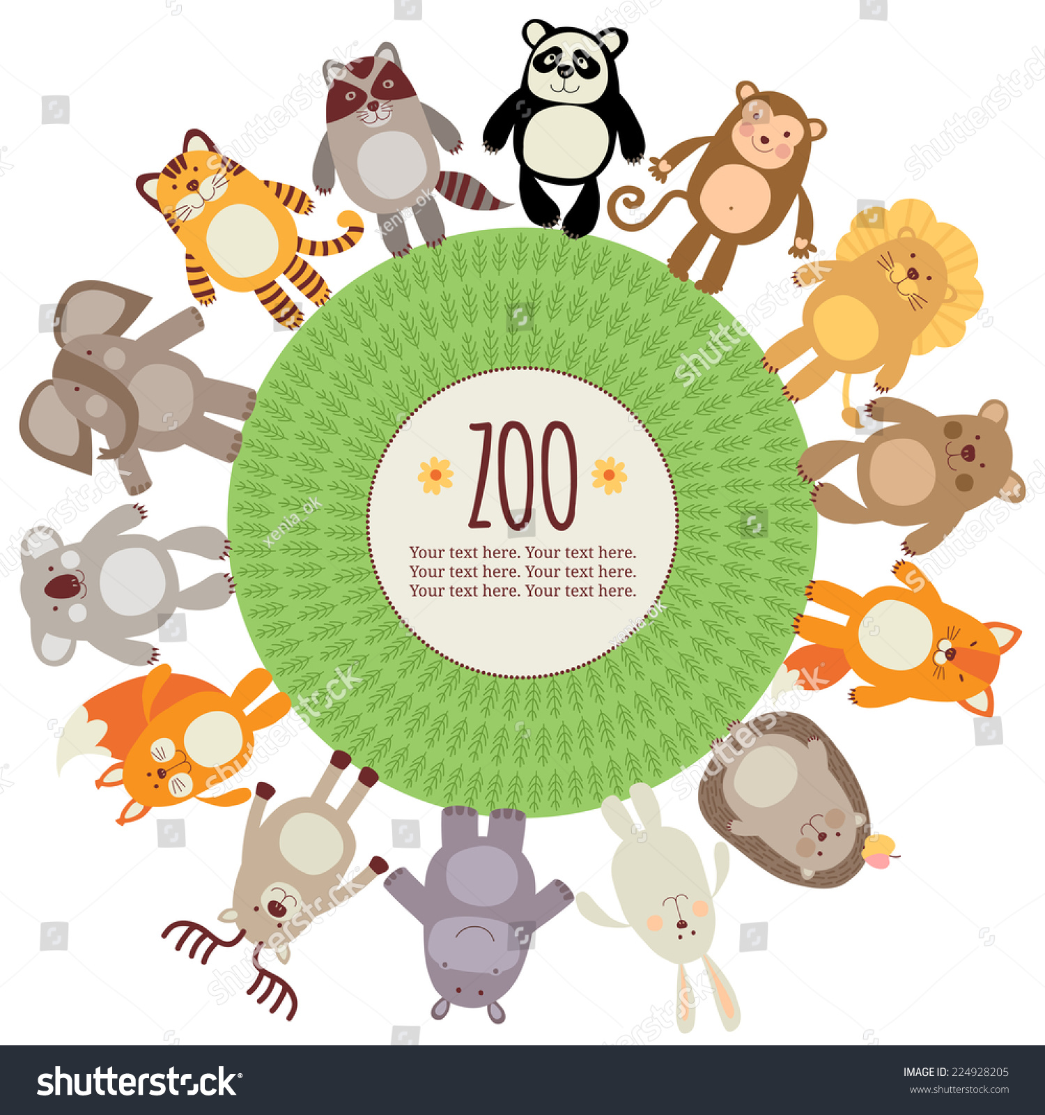 template card banner wild animals zoo stock vector 224928205