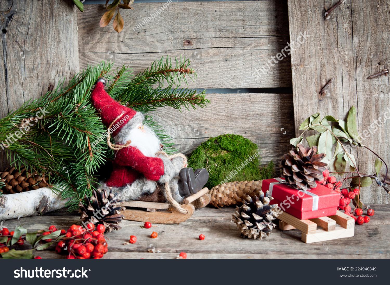 christmas backgrounds christmas decor on wooden stock photo (edit