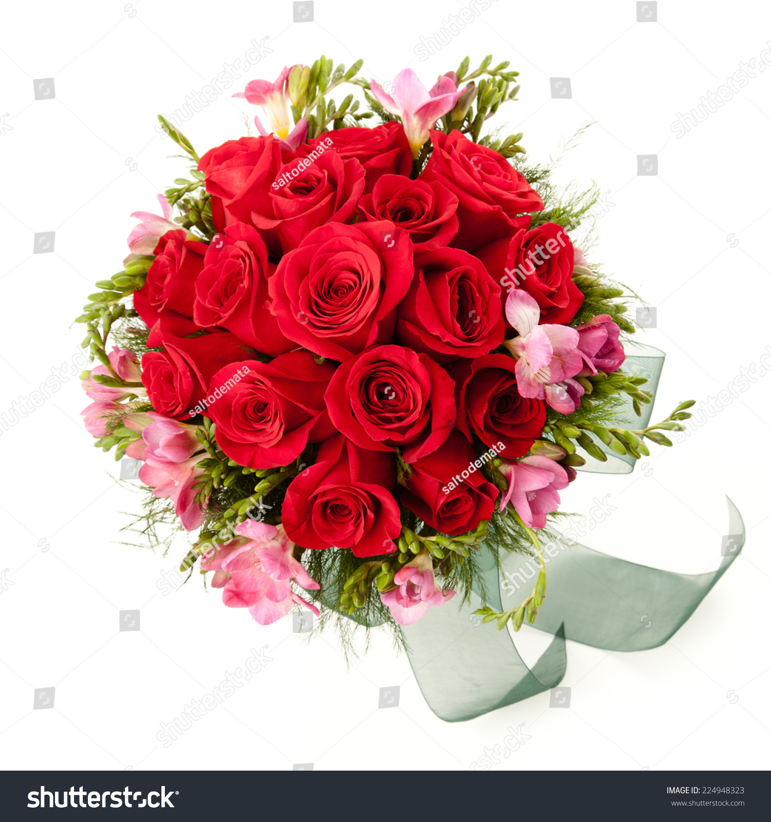 Red Roses Freesia Flowers Wedding Bouquet Stock Photo Edit Now