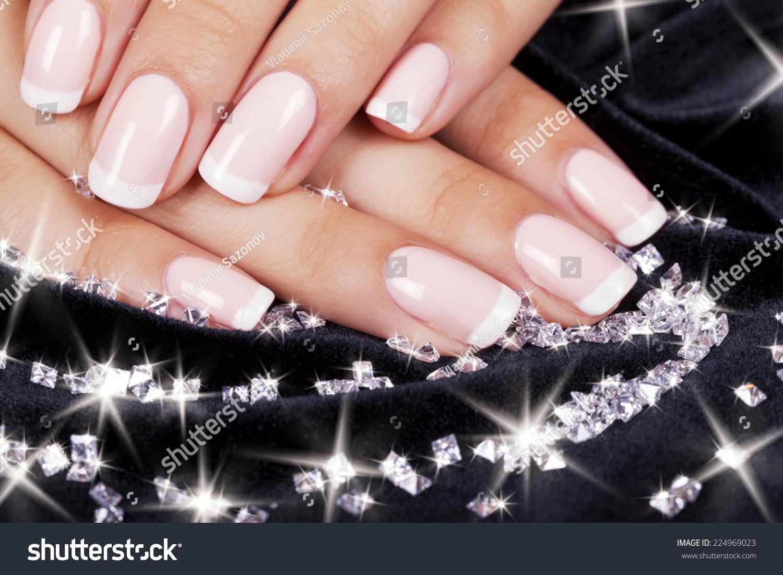 Beautiful Womans Nails French Manicure Diamonds Stock Photo (100 ...