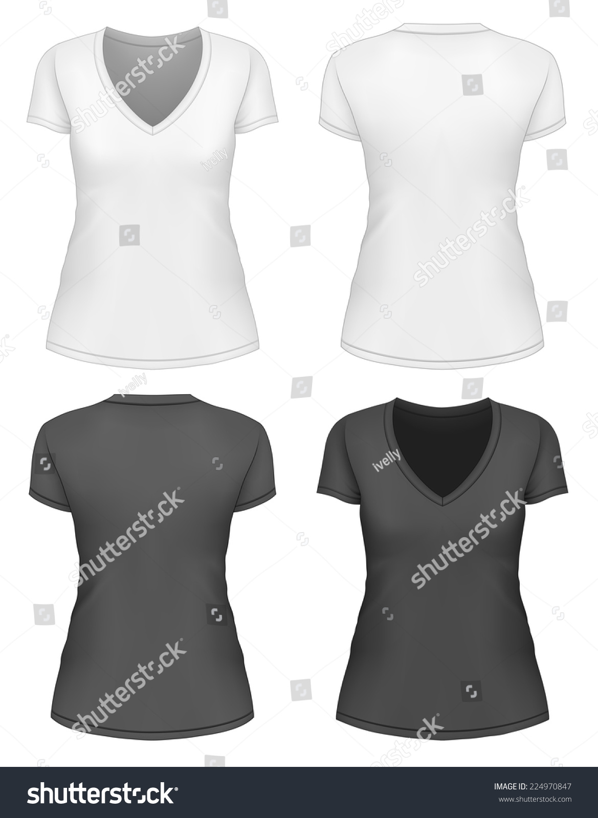 Womens vneck tshirt design template front stock vector for V neck t shirts with designs
