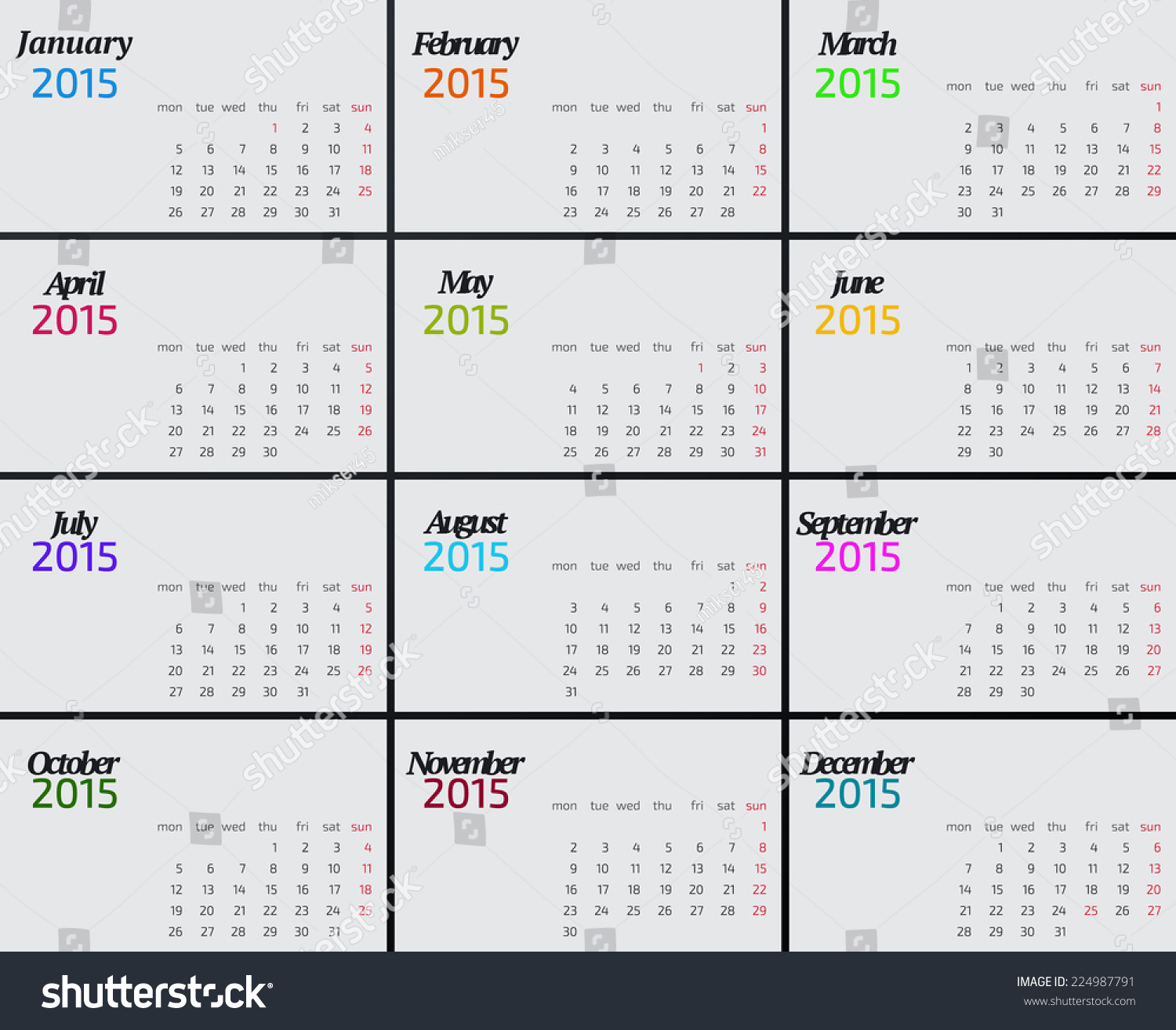 Year Calendar Starting : Year calendar weeks start on stock vector