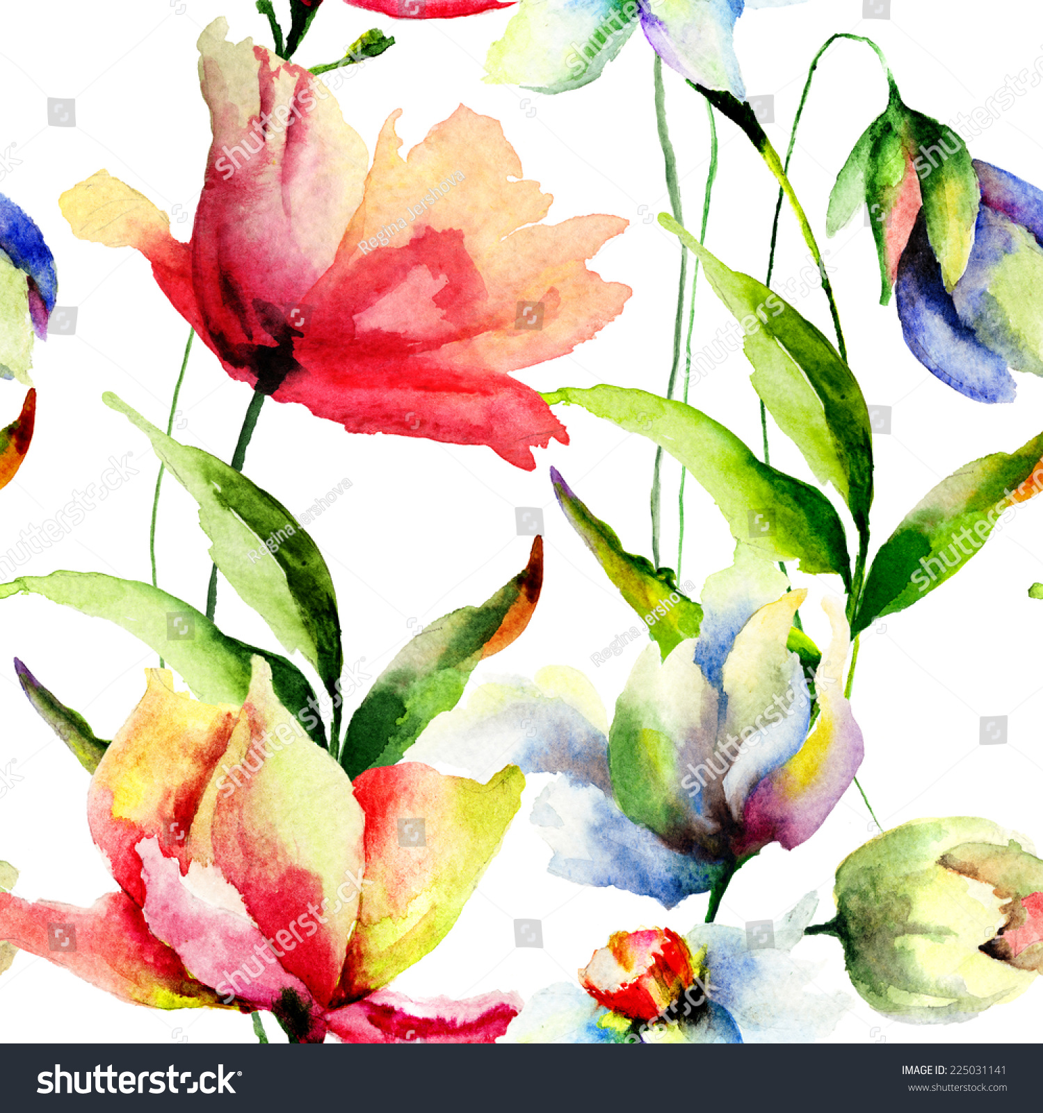 seamless wallpaper beautiful flowers watercolor illustration stock