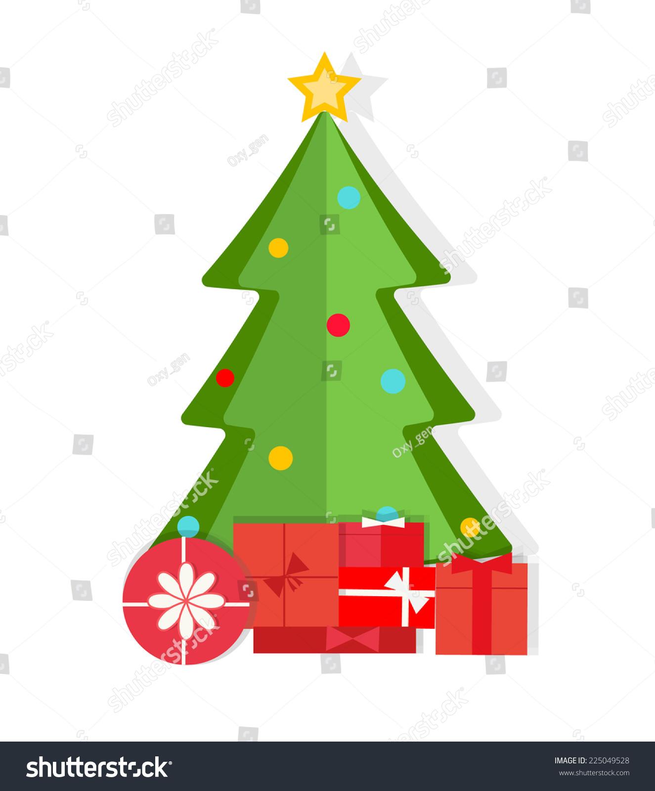 christmas tree gifts flat design style stock vector 225049528 stock vector christmas tree and gifts in - Flat Christmas Tree