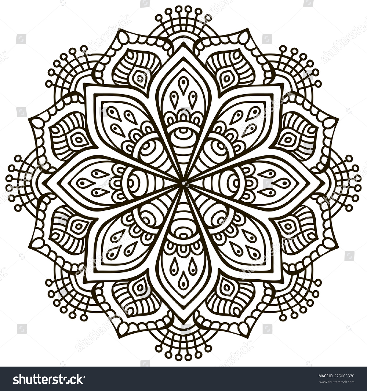 stock vector mandala round ornament pattern vintage decorative elements hand drawn background islam arabic 225063370