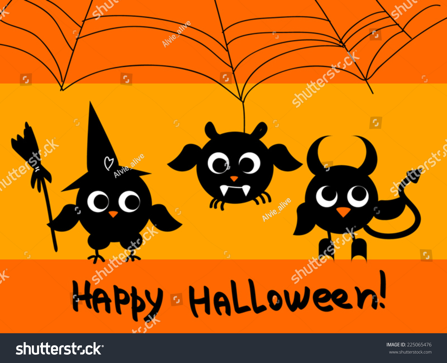 Cute halloween card black owls silhouettes stock vector 225065476 cute halloween card black owls silhouettes as witch devil kristyandbryce Images