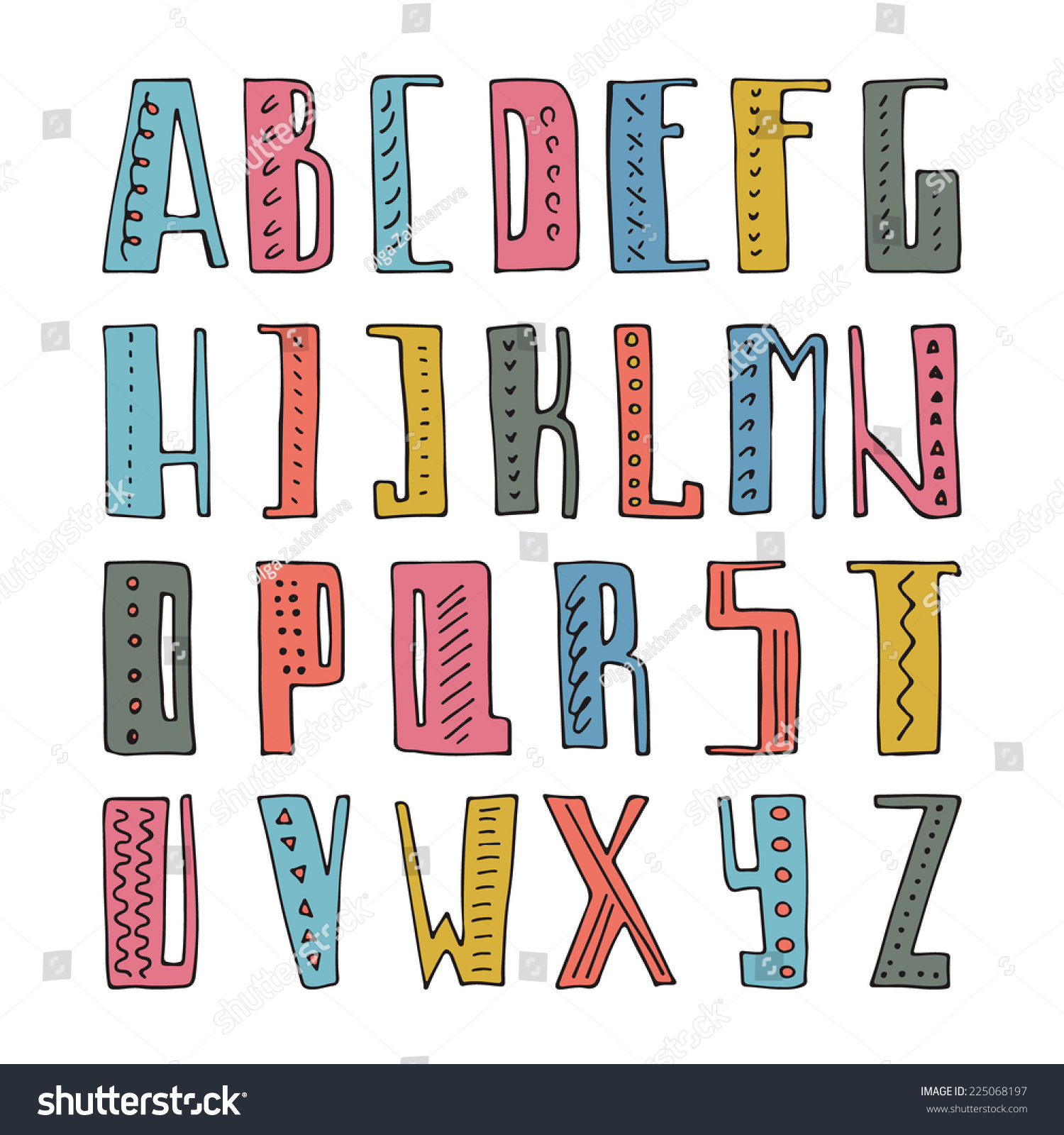 Easy Hand Mades Stock Vector Cute Hand Drawn Alphabet Made In