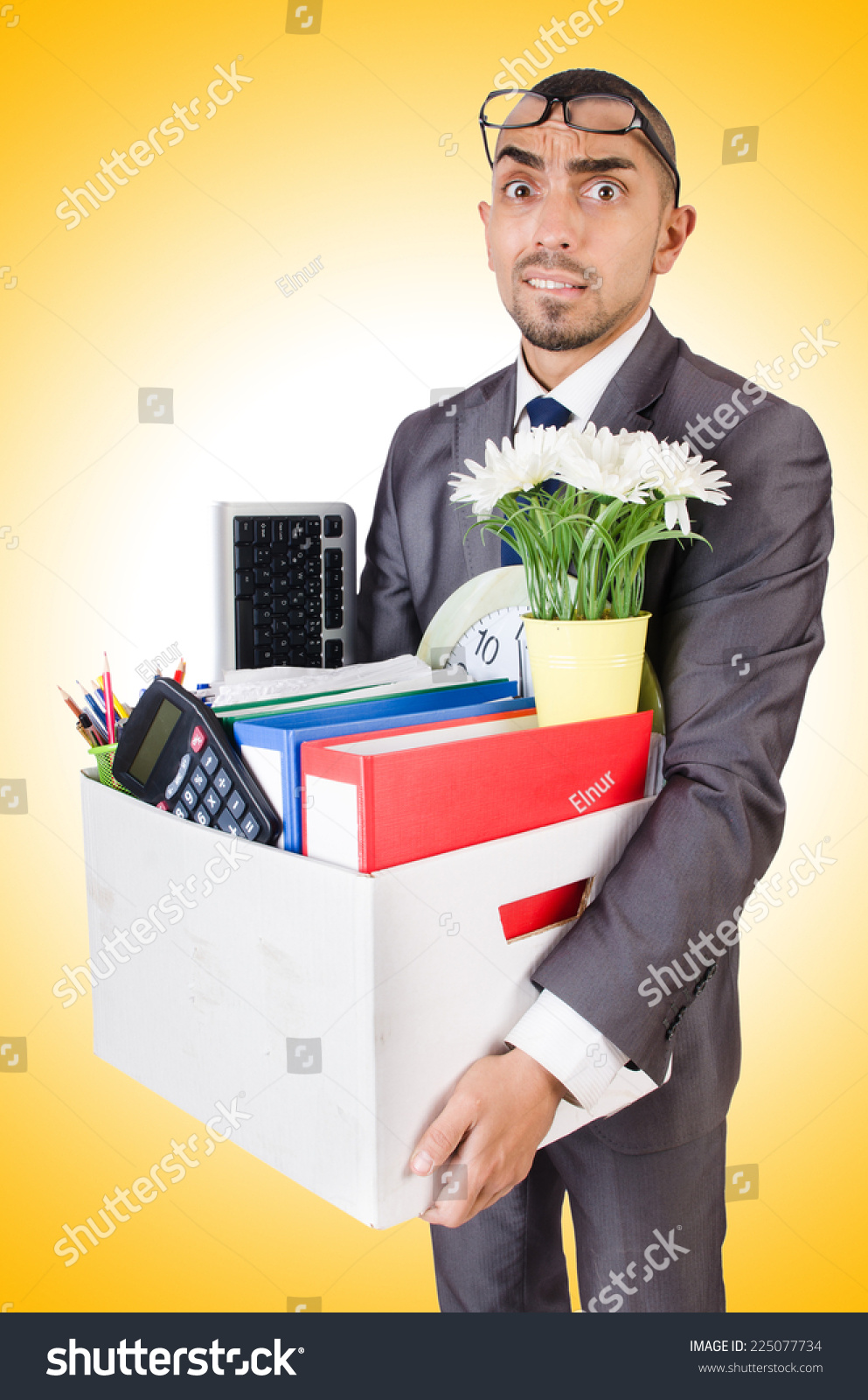 man being fired box personal stuff stock photo  man being fired box of personal stuff