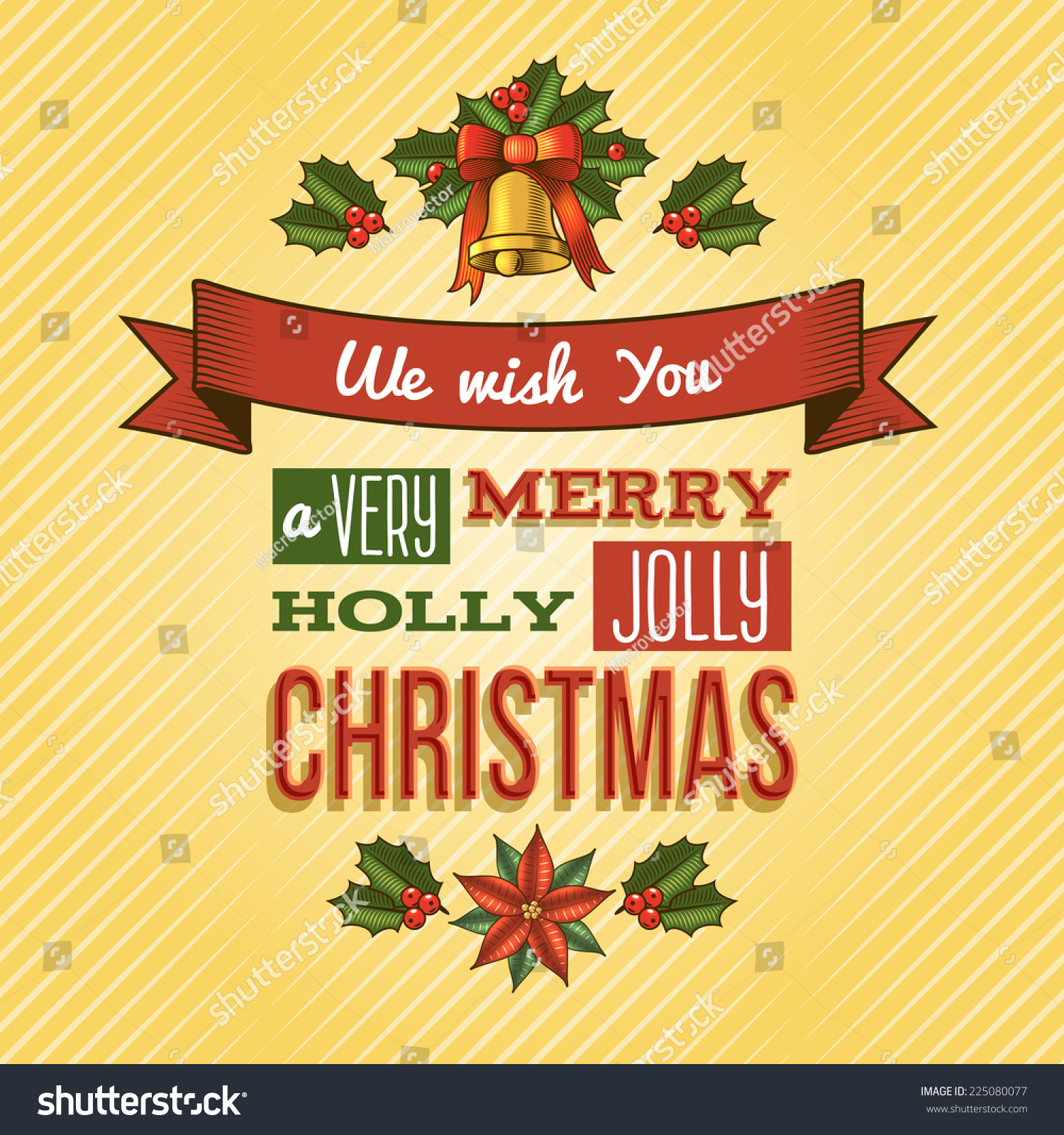 Merry Christmas New Year Holiday Ornament Stock Vector 225080077 ...