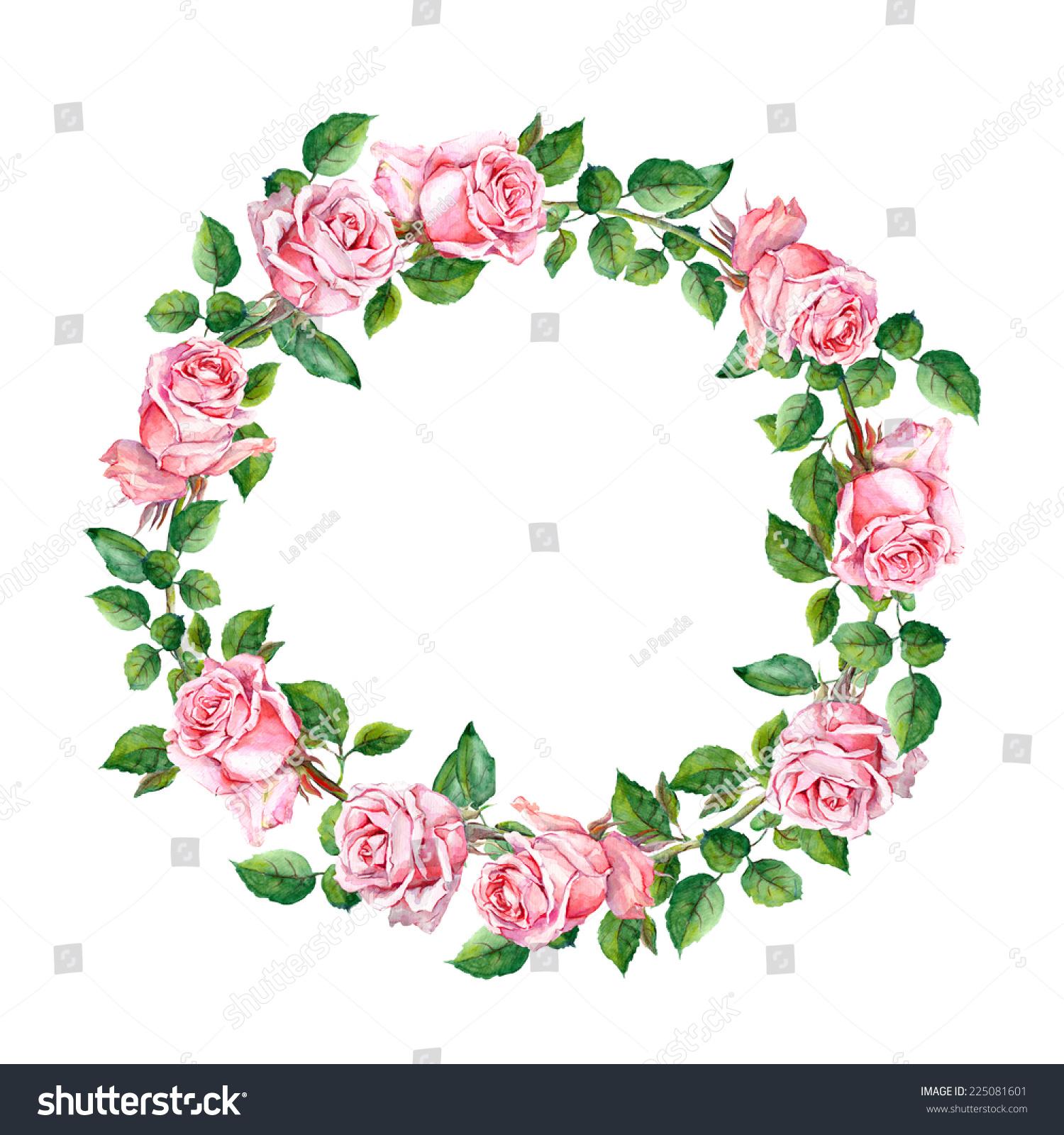 Rose Flower Wreath Floral Circle Border Stock Illustration ...