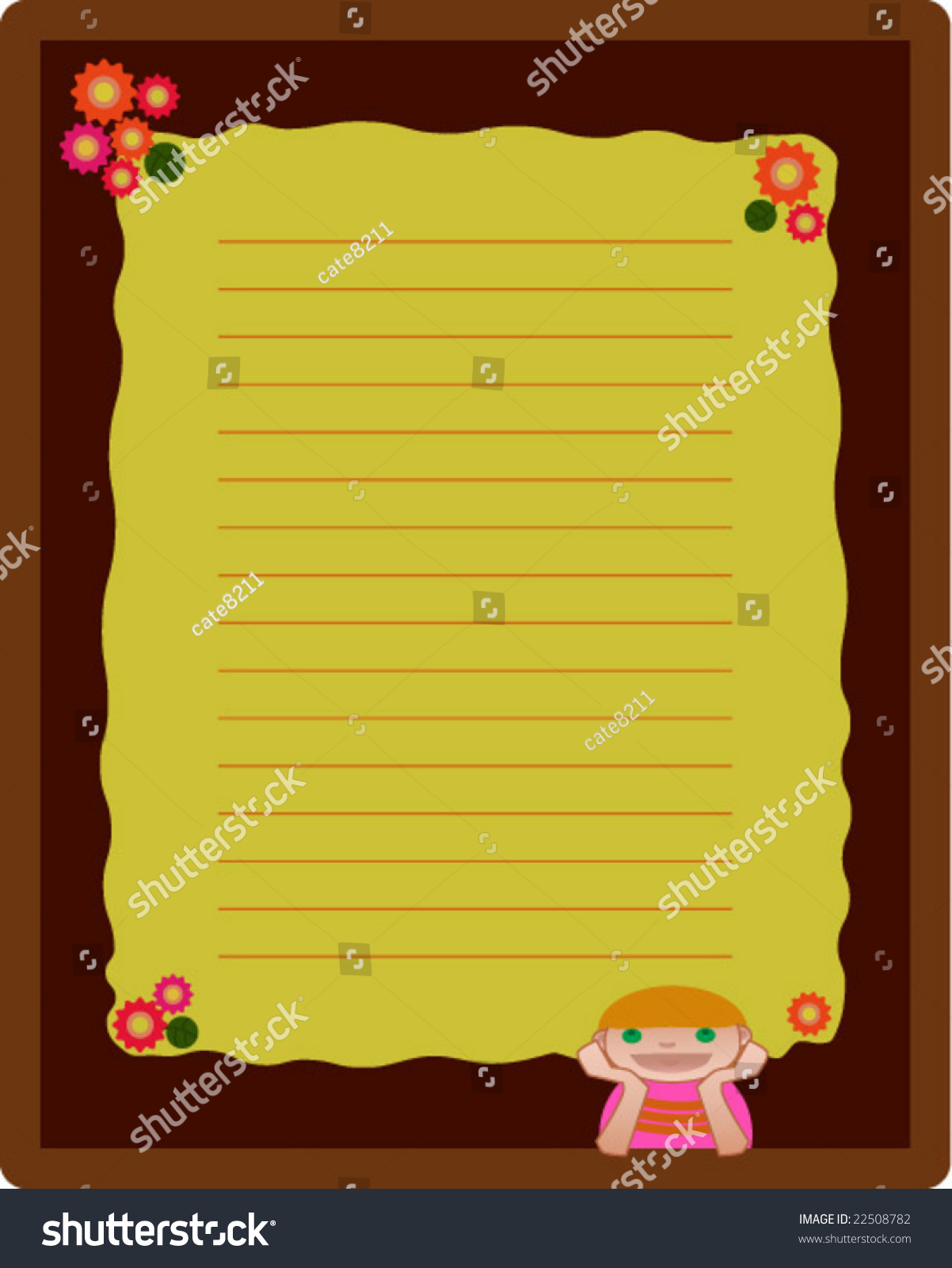 How to design scrapbook layouts - Notebook Or Scrapbook Page Layout Design With Girl And Flowers