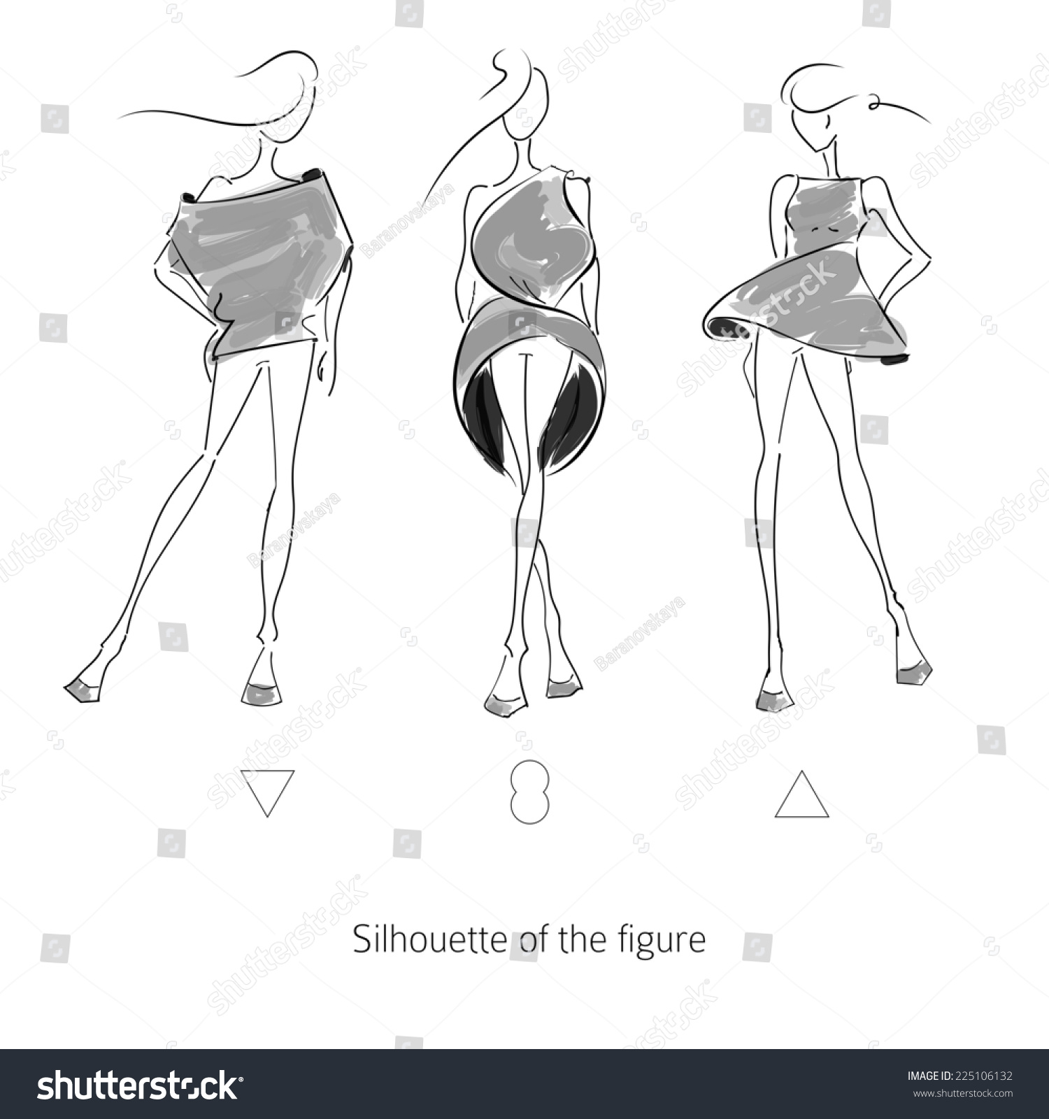 Fashion Model Sketch Silhouette Figure Vector Stock Vector ...