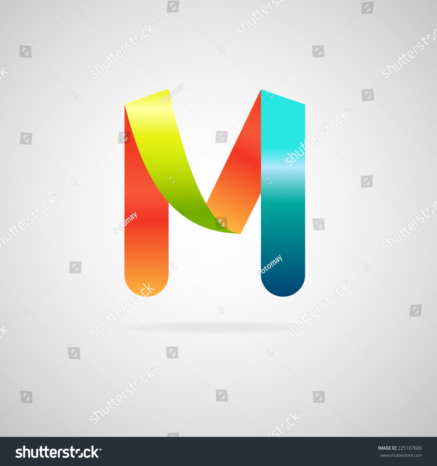 sign the letter mcolor ribbon business logo icon