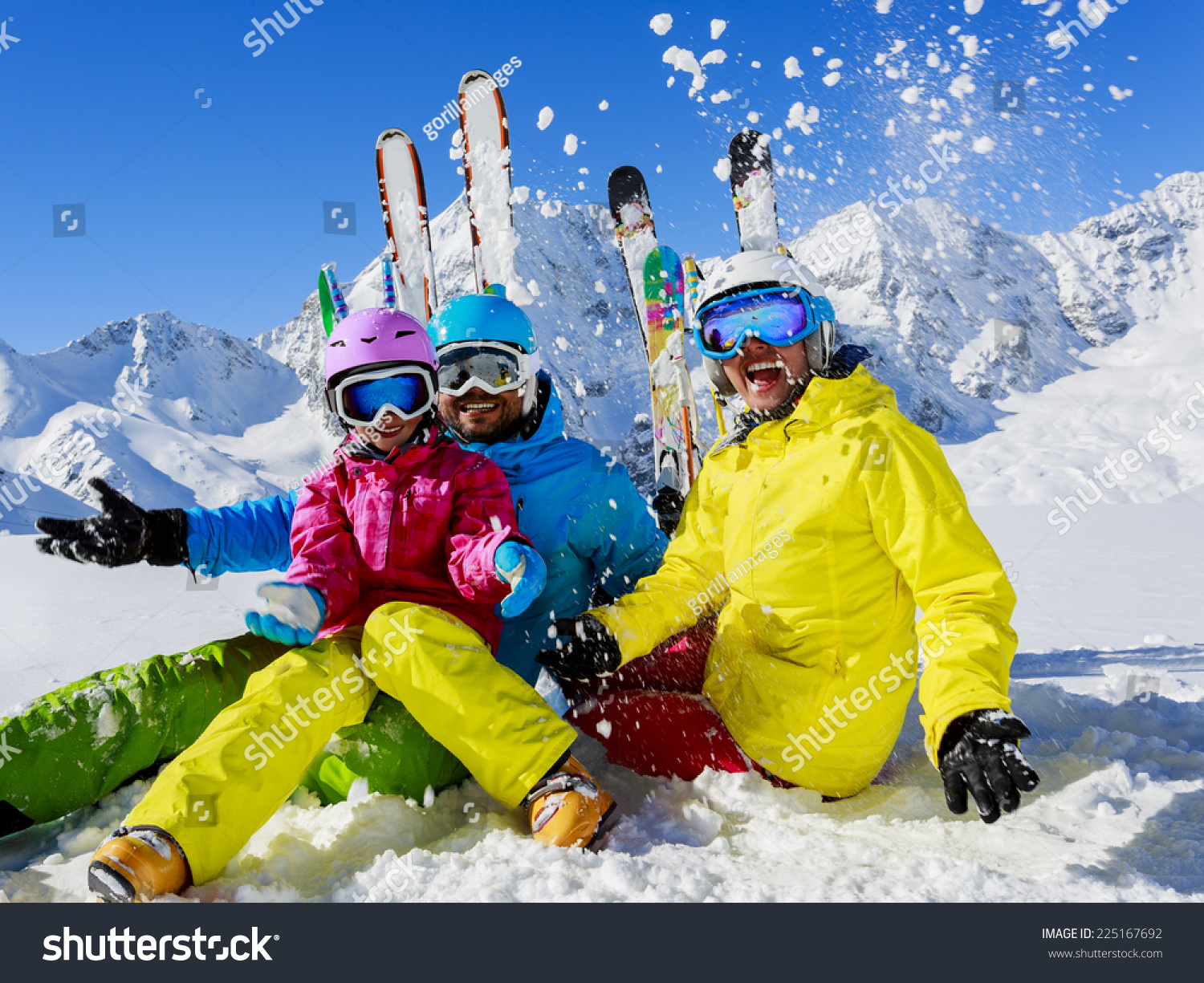 Skiing winter snow skiers sun fun stock photo 225167692 for Vacation in the snow