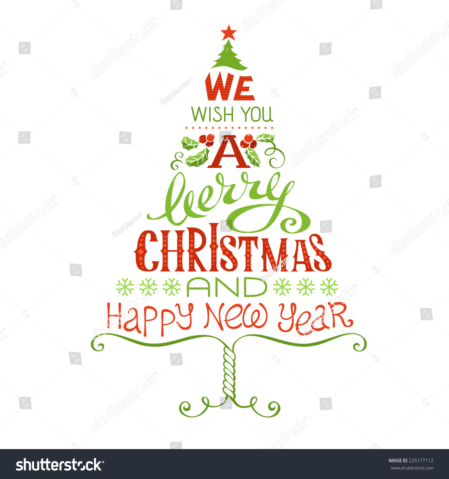 We Wish You Merry Christmas Happy Vector de stock (libre de regalías ...