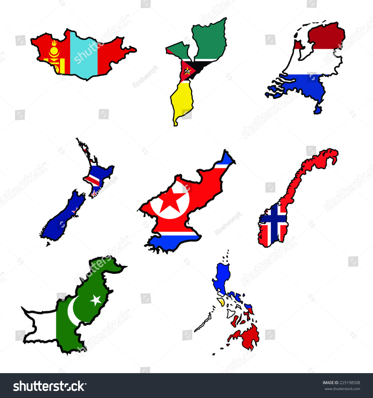 Illustration Flag Map Mongoliamozambiquenetherlandsnew - Norway map clipart