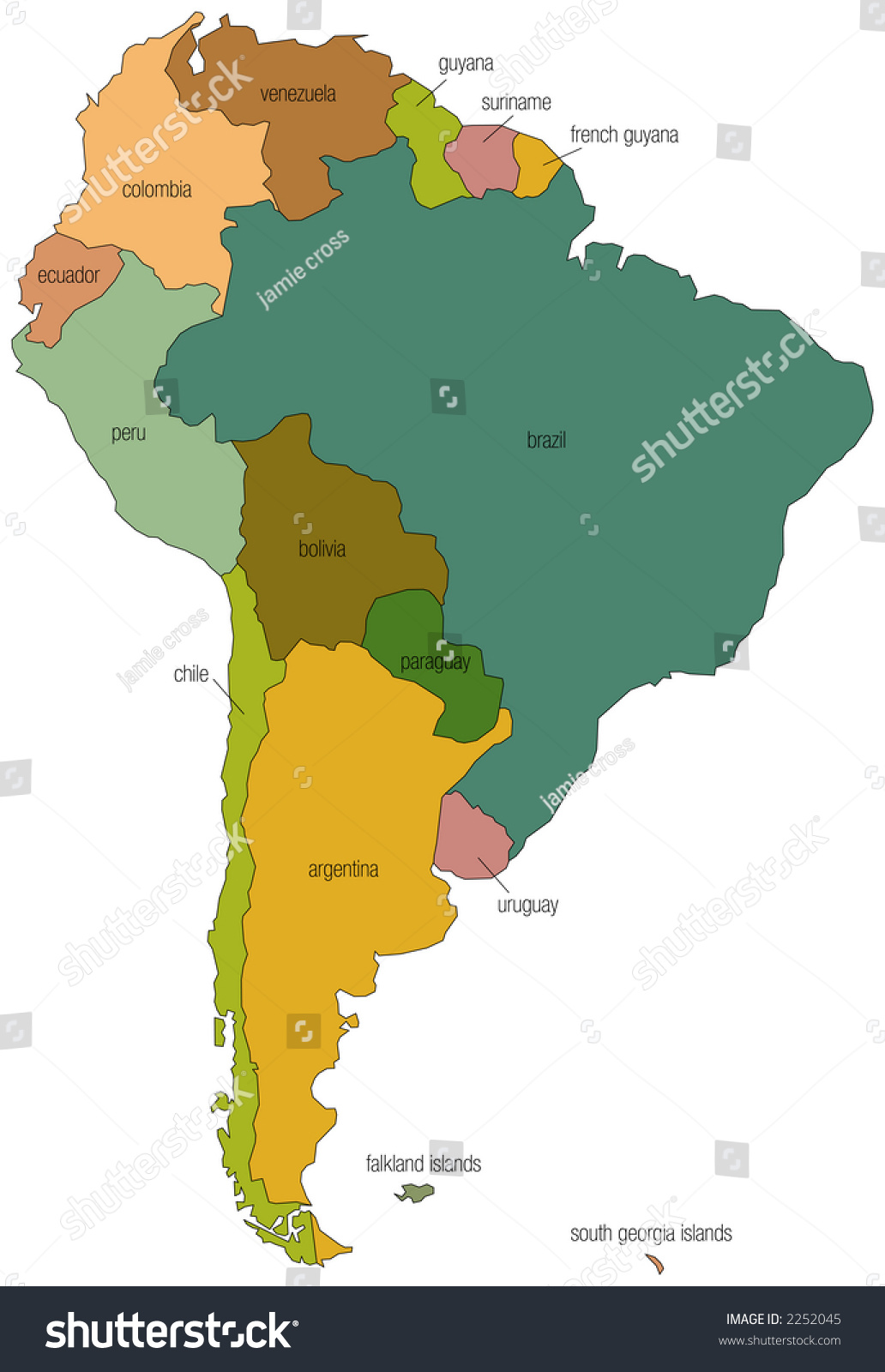 a full color map of south america