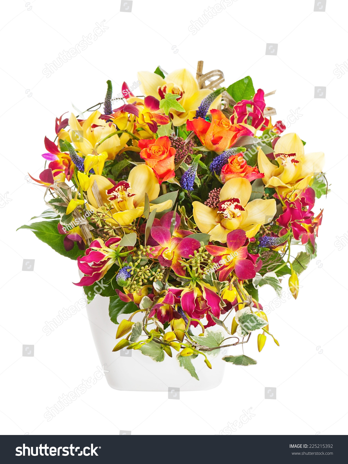 Bouquet From Flowers Arrangement Centerpiece In Vase Isolated On